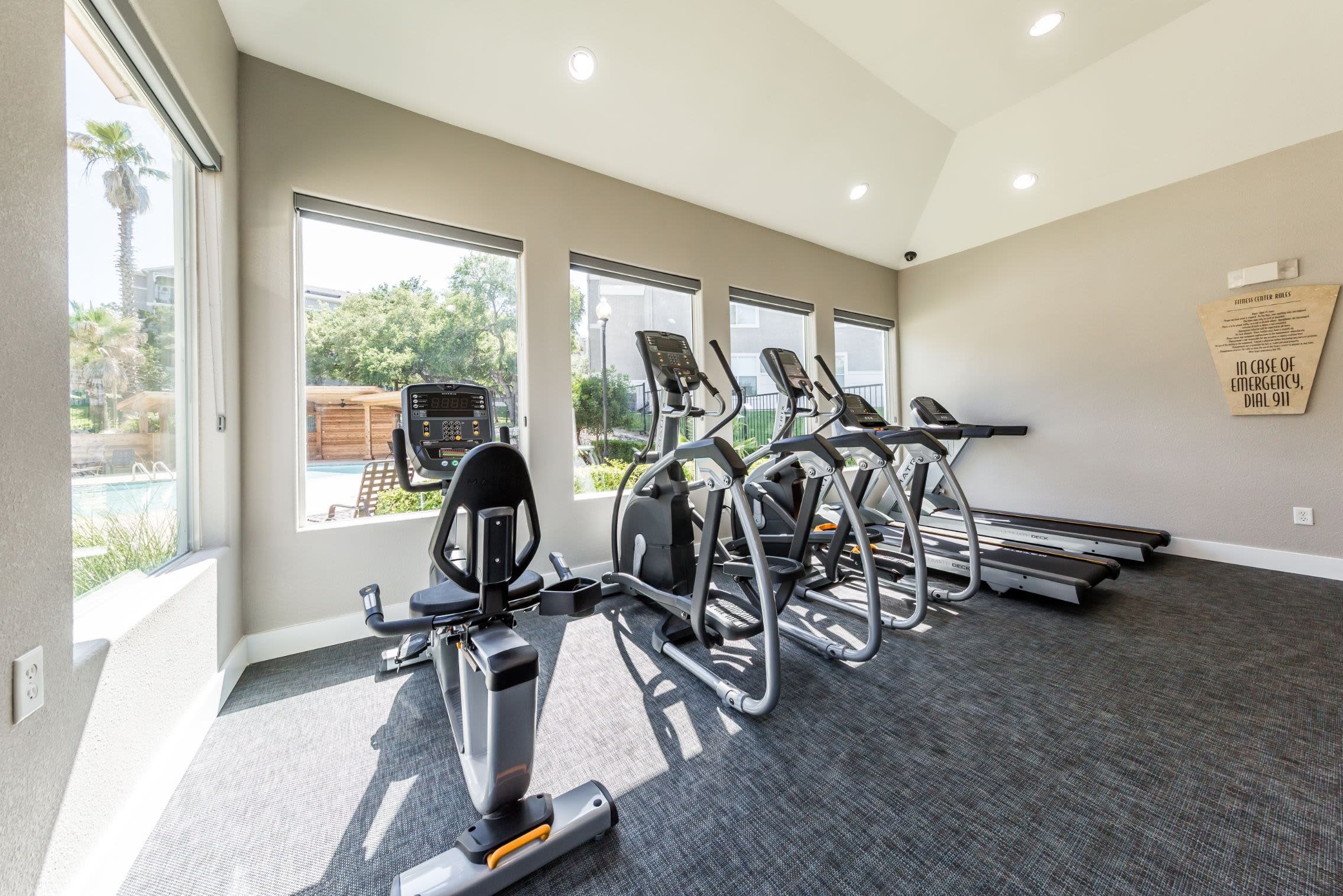 Cardio machines in the fitness center at Marquis at Crown Ridge in San Antonio, Texas