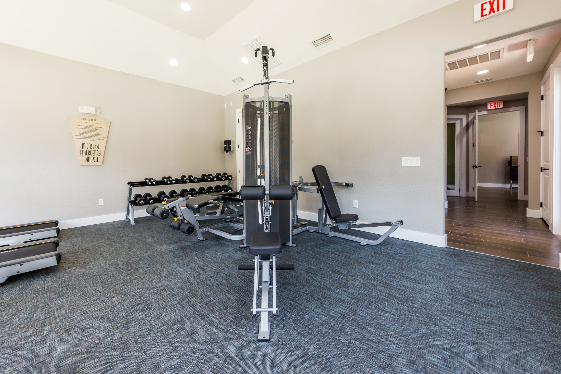 Free weights and cable machines at Marquis at Crown Ridge in San Antonio, Texas