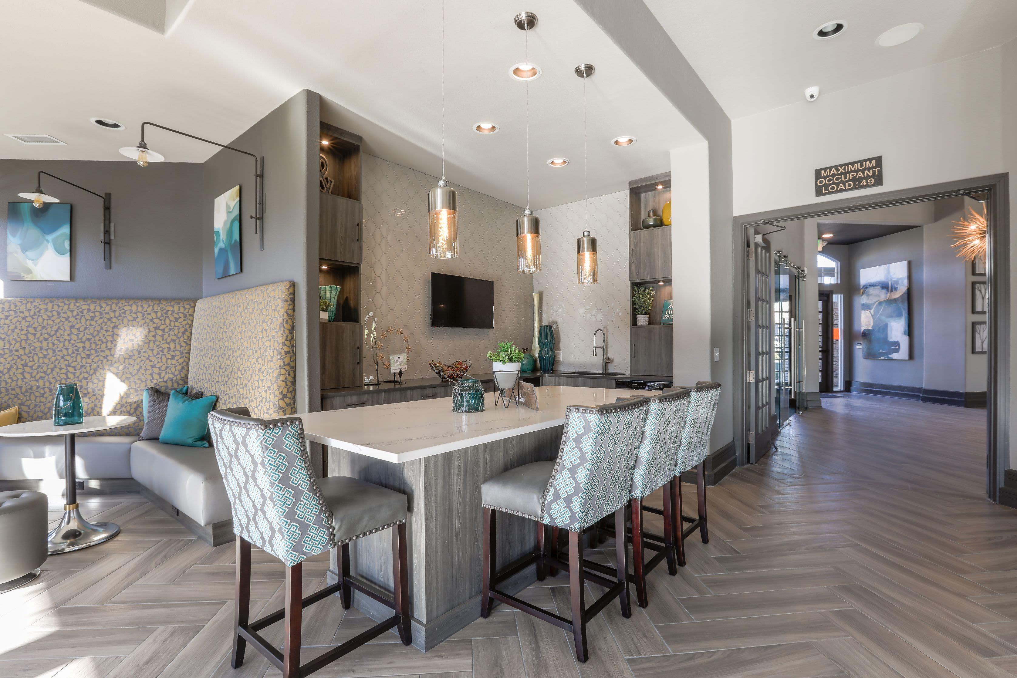 Modern kitchen in the clubhouse at Marquis Castle Pines in Castle Pines, Colorado