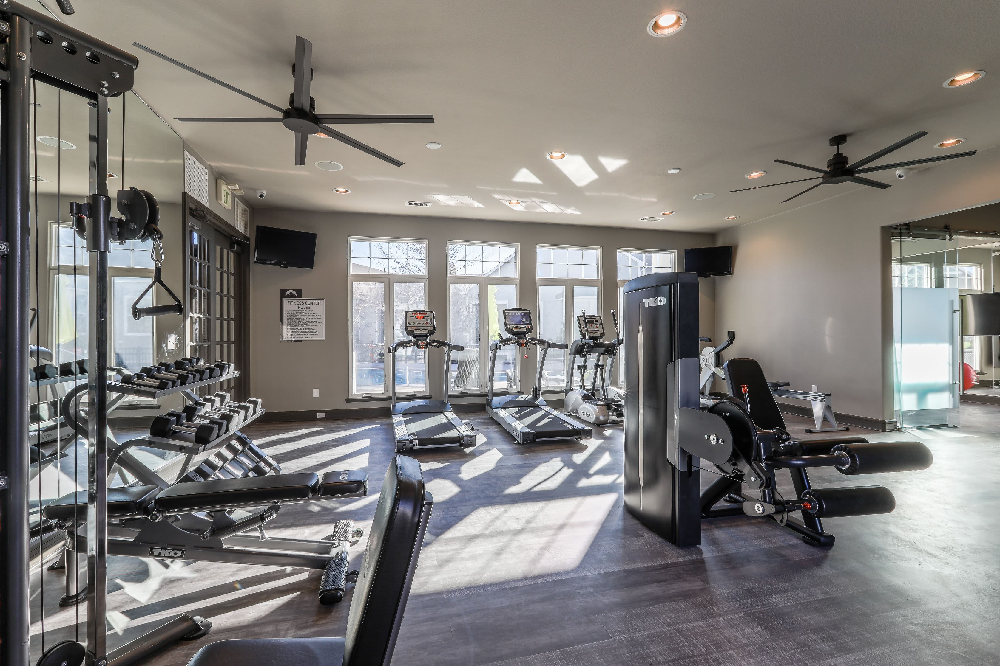 Cardio and weight machines at Marquis Castle Pines in Castle Pines, Colorado
