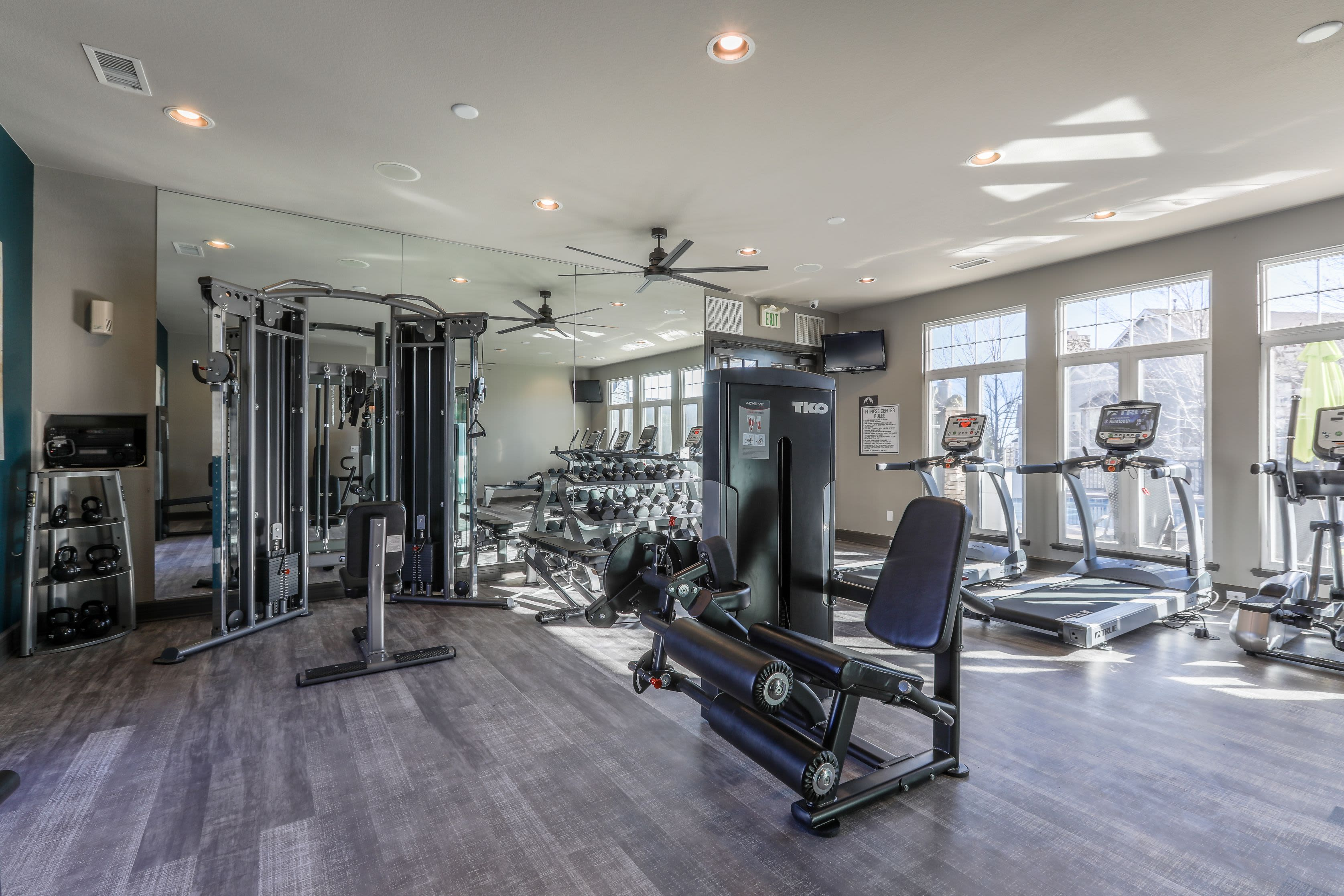 Free weights and machines at Marquis Castle Pines in Castle Pines, Colorado