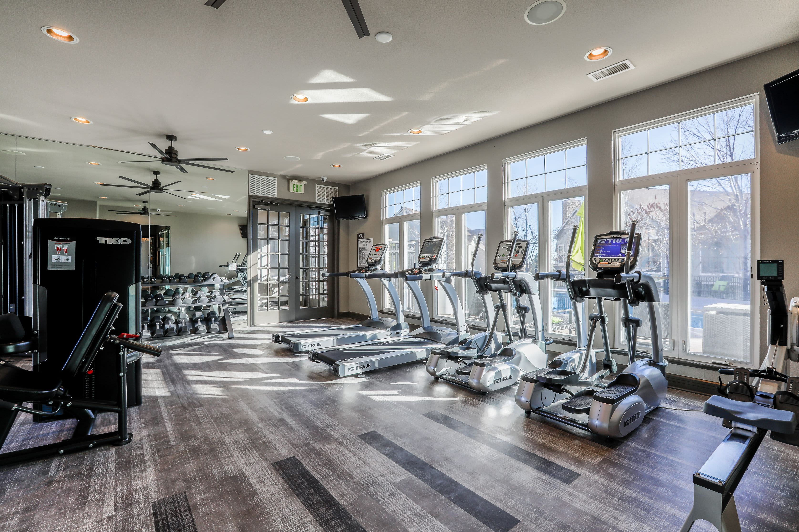 Cardio machines in the fitness center at Marquis Castle Pines in Castle Pines, Colorado