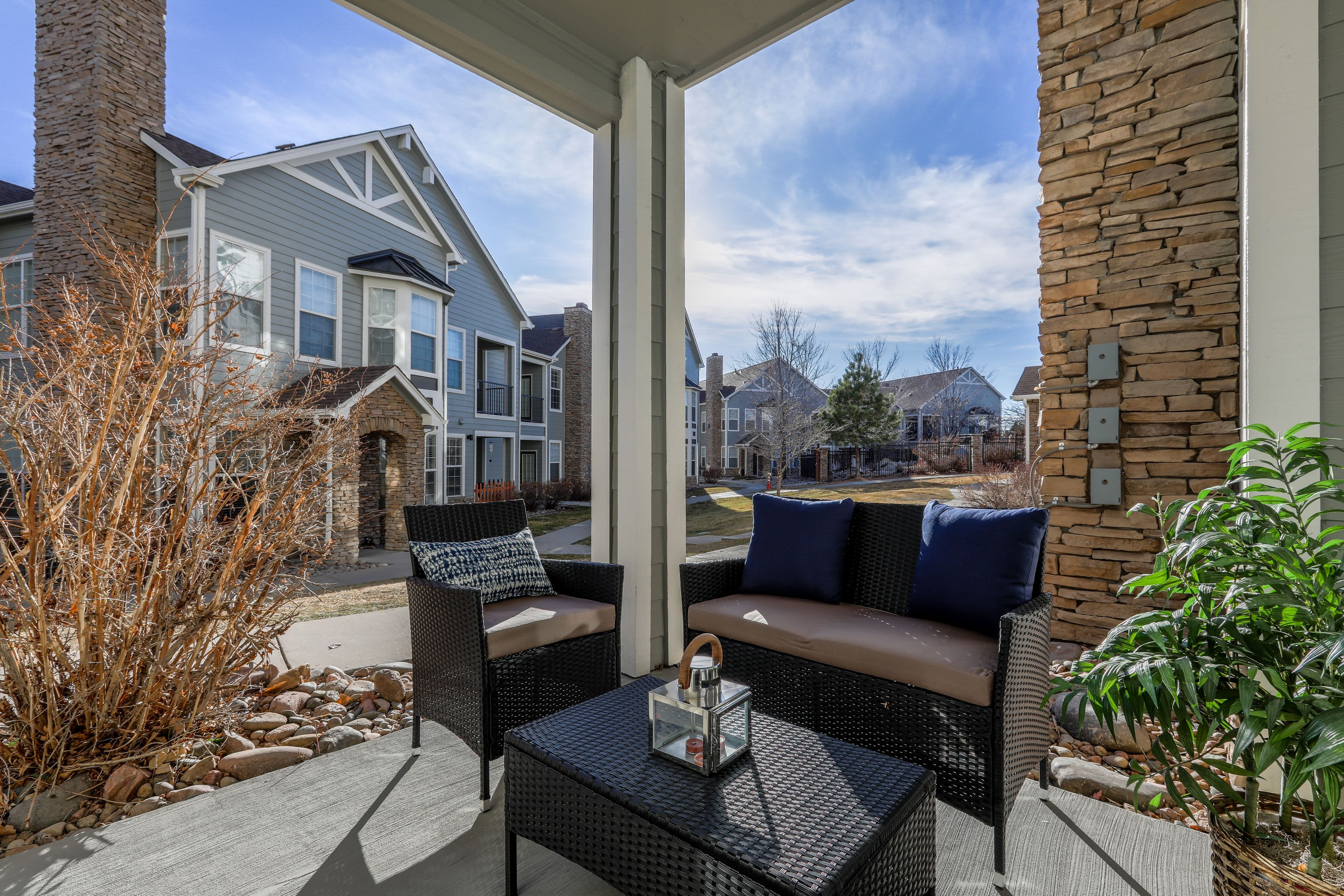 Private patio at Marquis Castle Pines in Castle Pines, Colorado