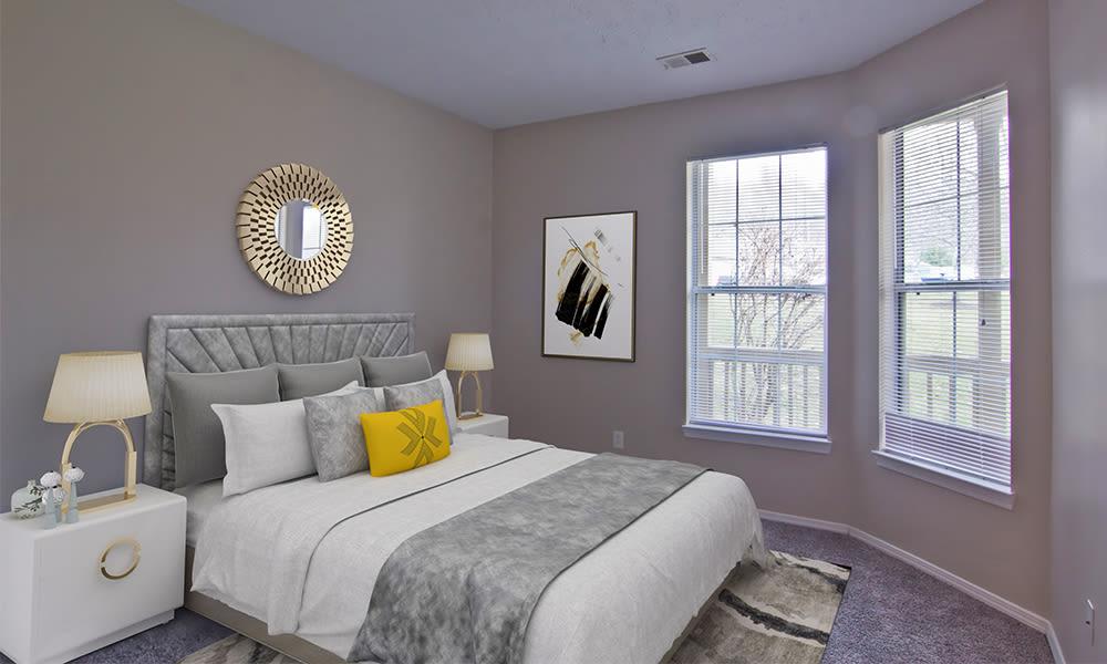 Cozy bedroom at Highlands of Montour Run in Coraopolis, Pennsylvania