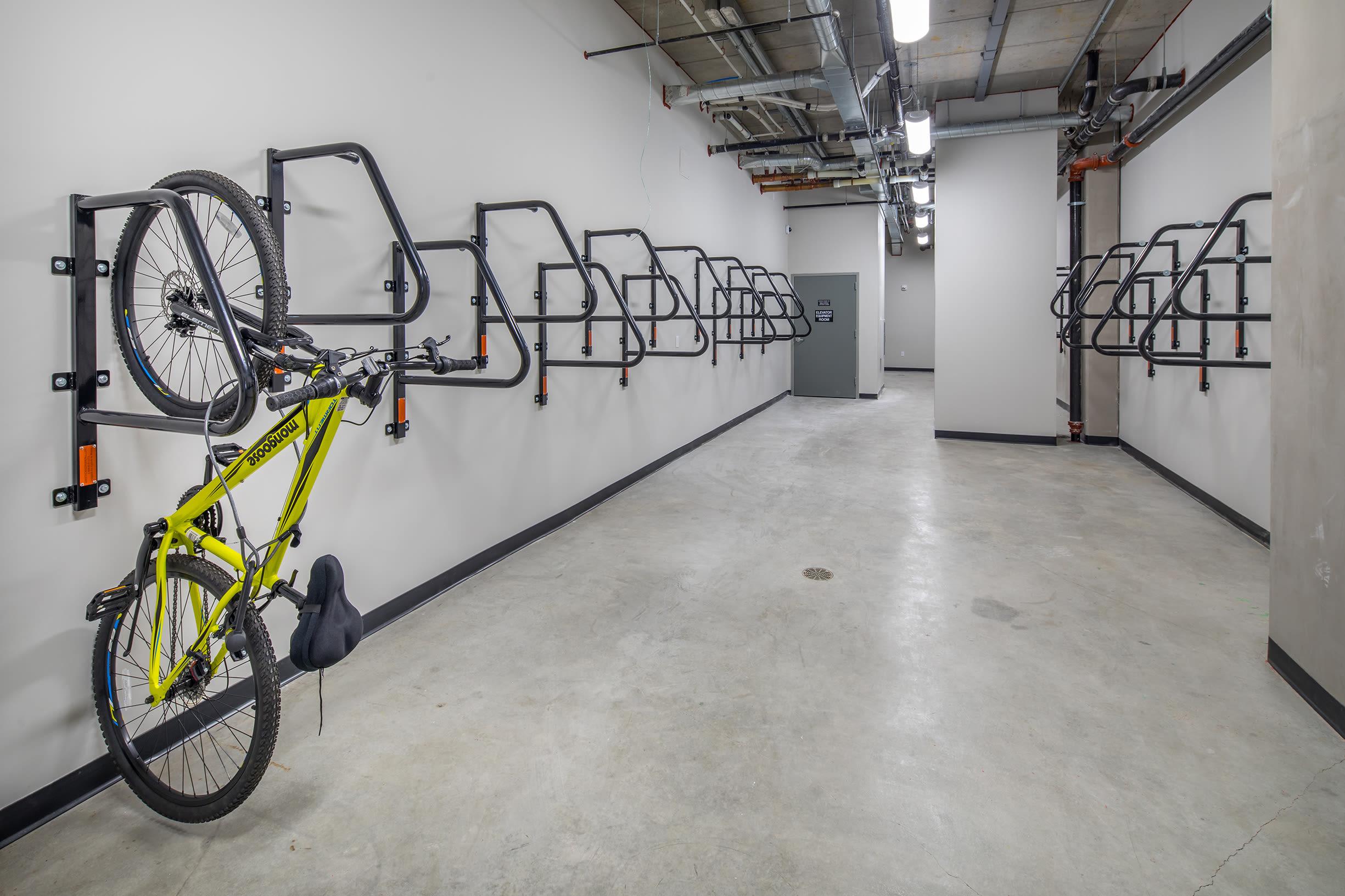 Bike racks with bike at Ascend in Portland, OR