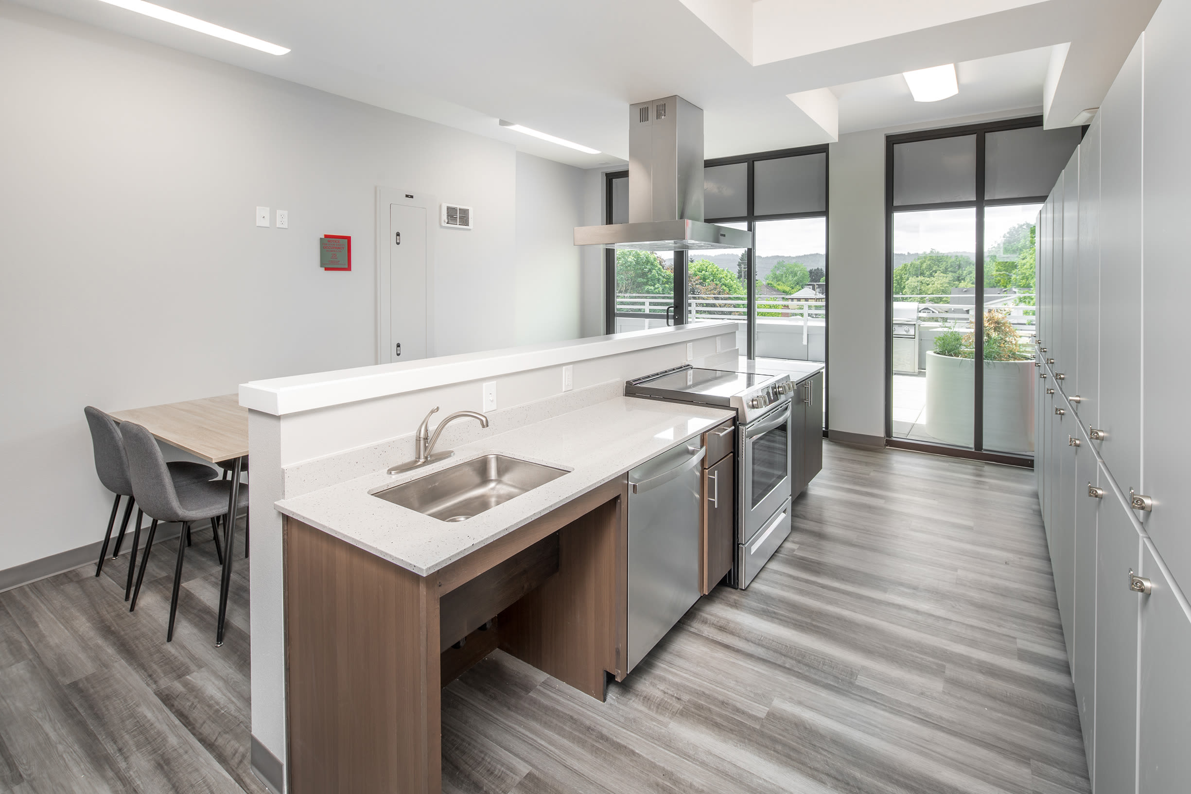 Another view of the community kitchen at Ascend in Portland, OR