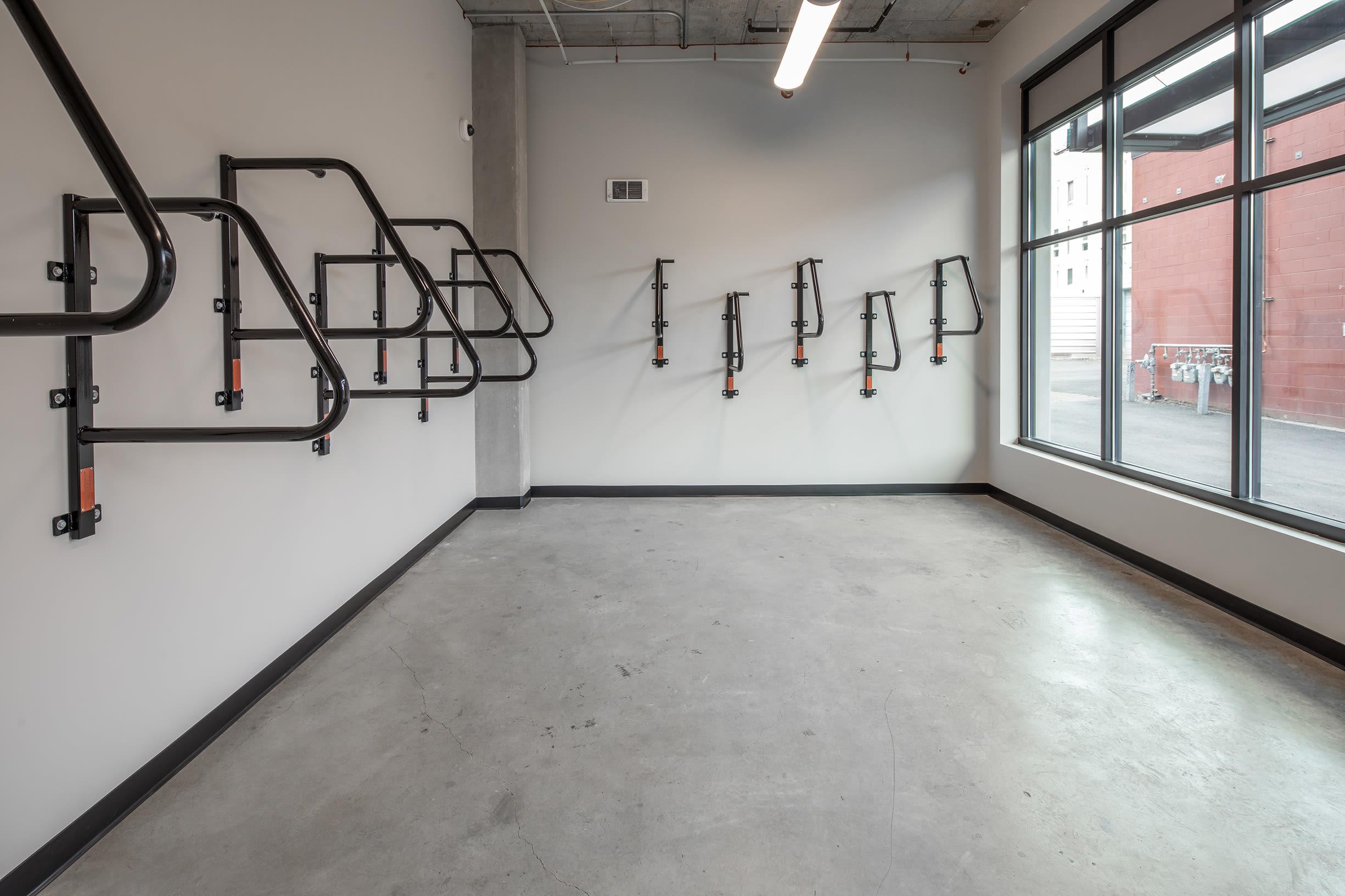 Indoor bike racks at Ascend in Portland, OR