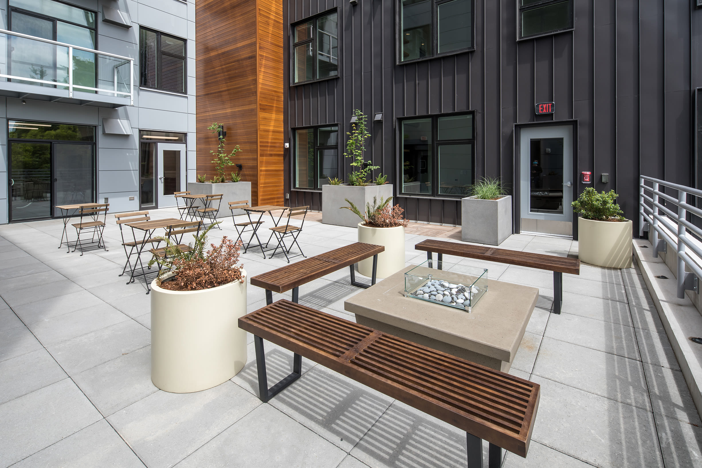 Outdoor benches at Ascend in Portland, OR