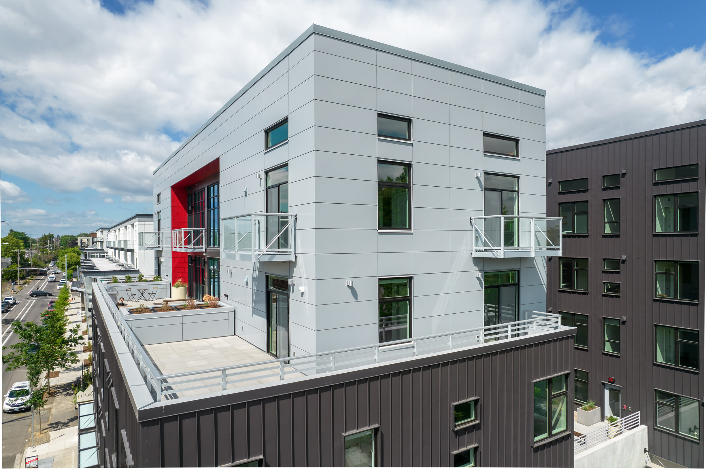 Side view of balcony at Ascend in Portland, OR