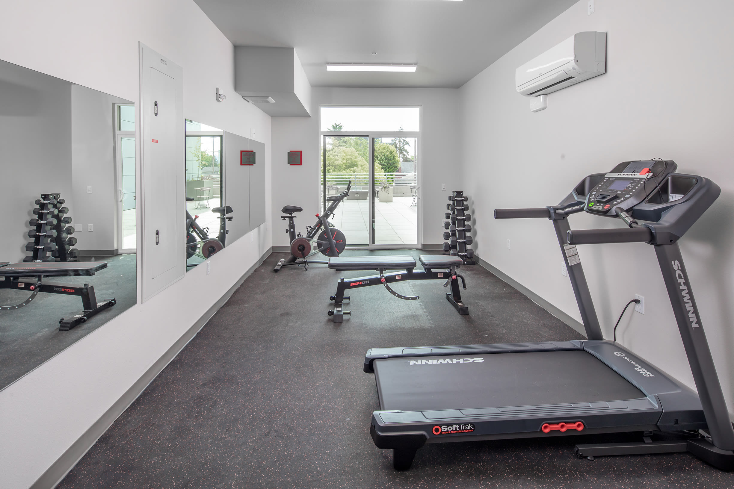 The fitness room at Ascend in Portland, OR