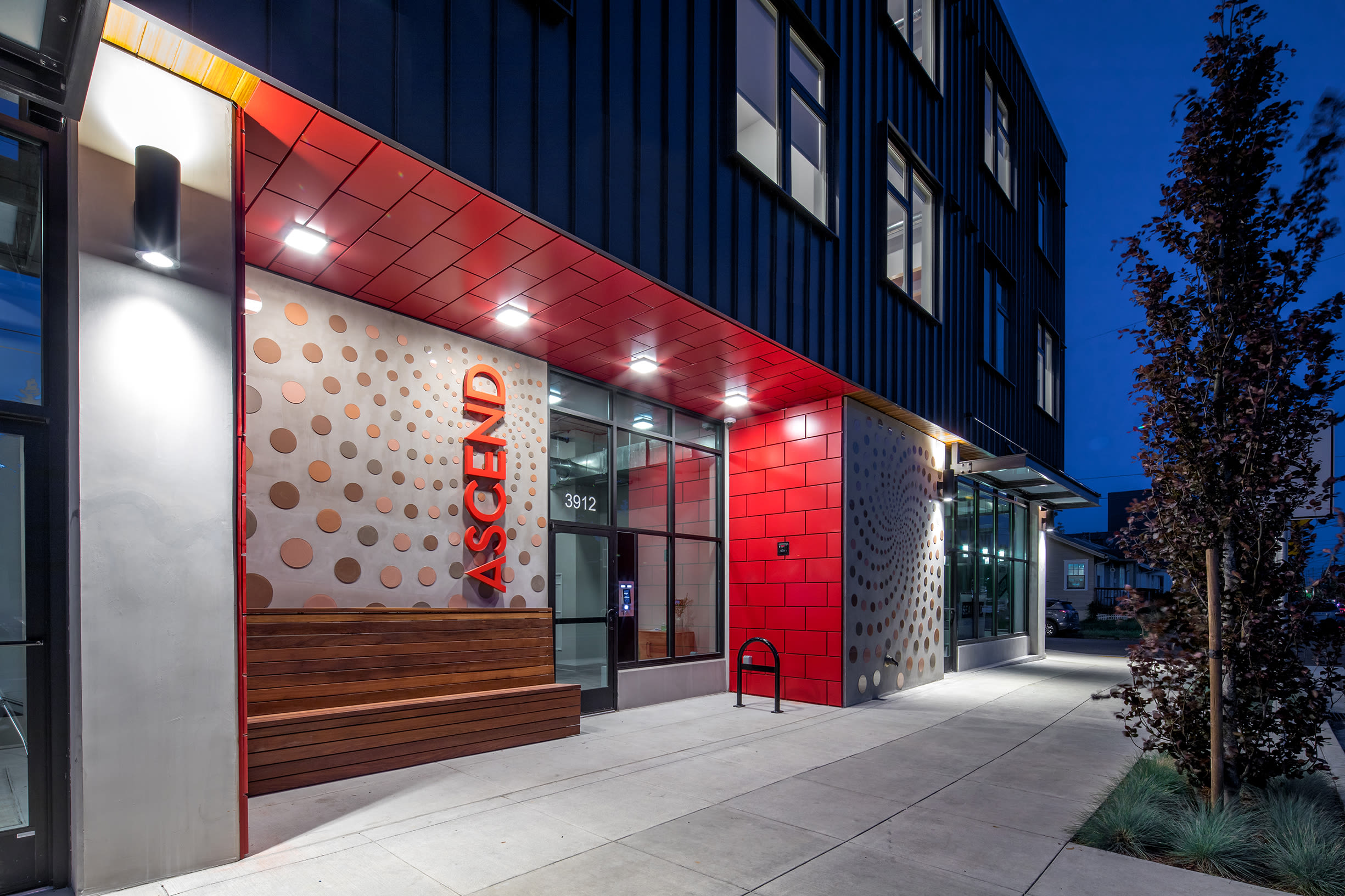 Office entrance at night at Ascend in Portland, OR