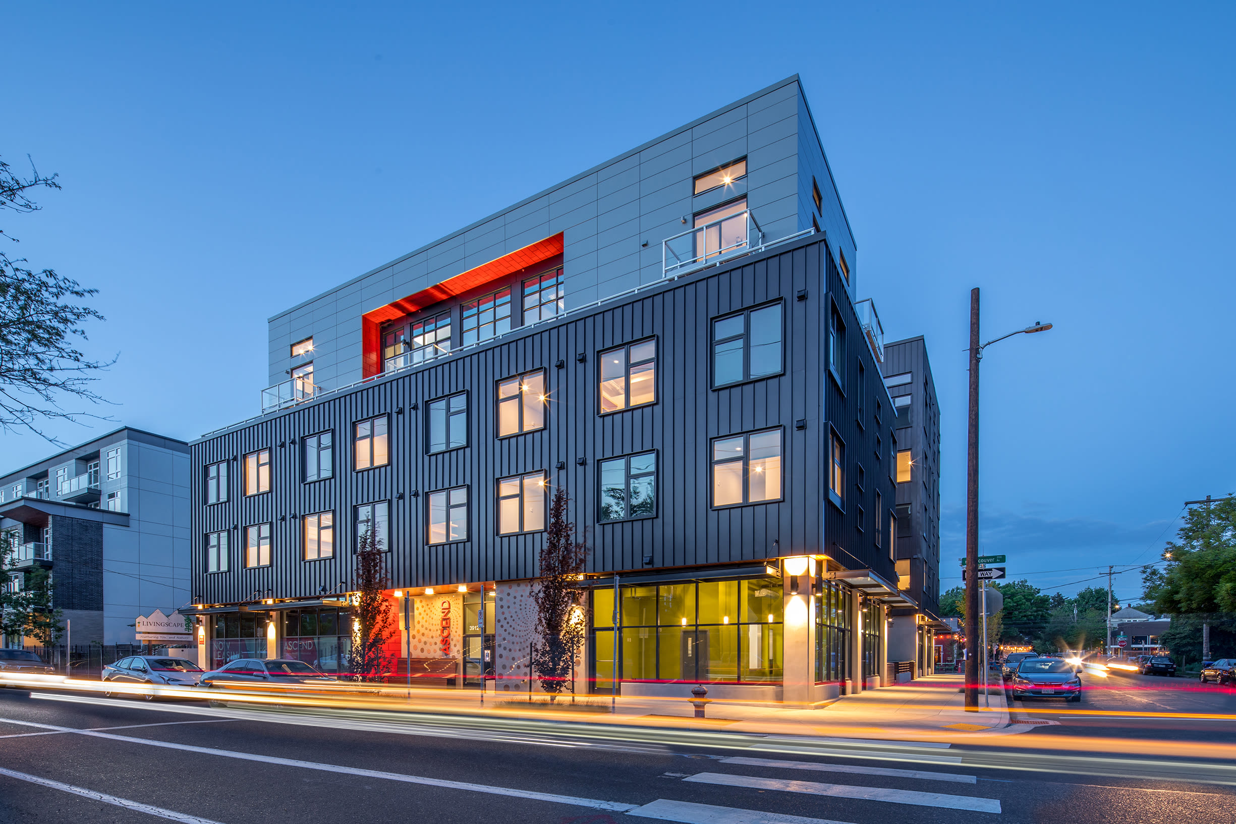The exterior at night at Ascend in Portland, OR