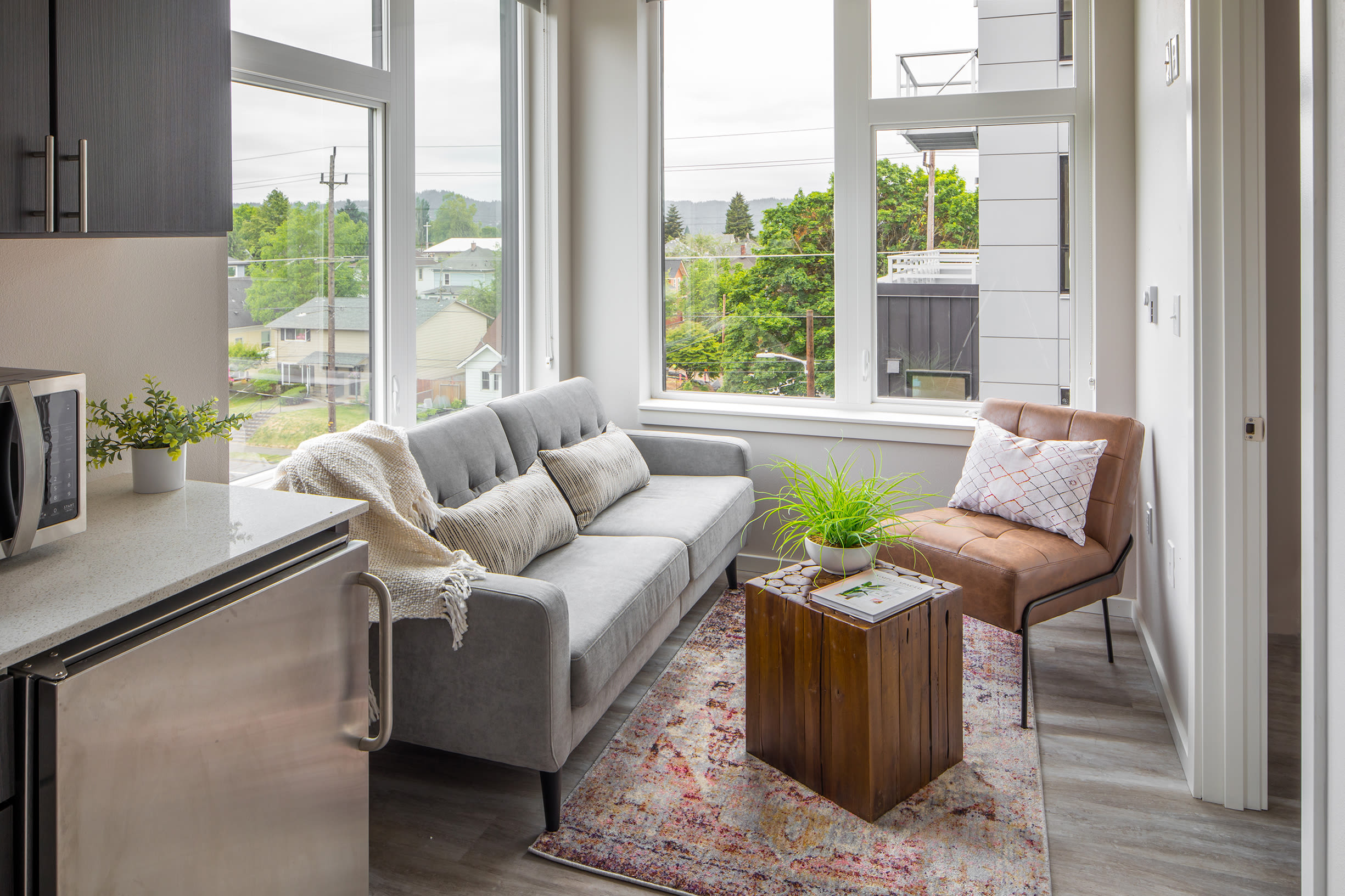 A bright and modern living room at Ascend in Portland, OR