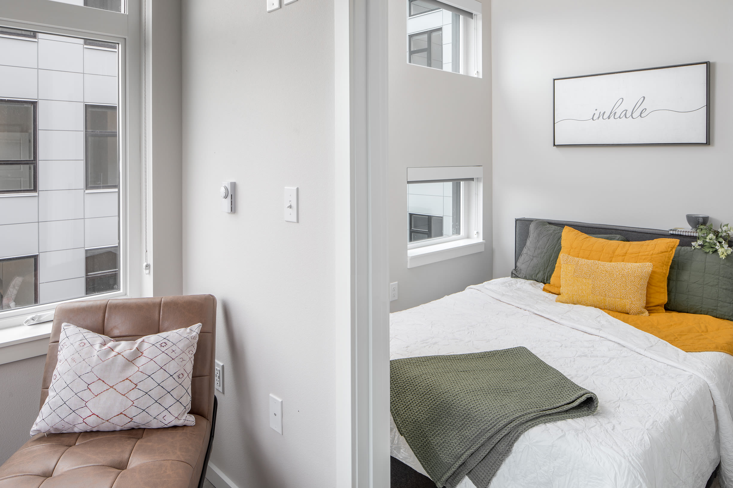 An apartment bedroom at Ascend in Portland, OR