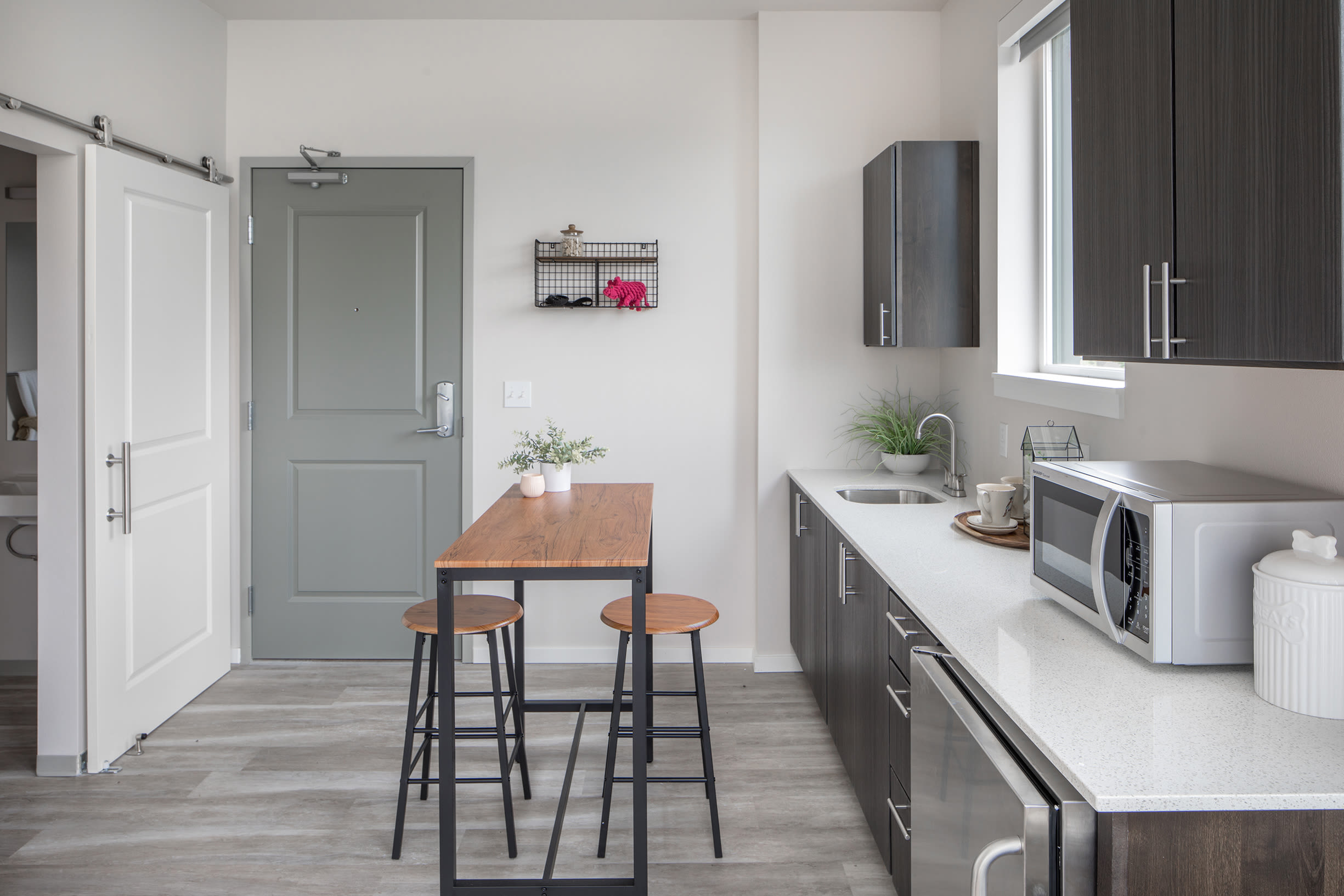 A spacious galley-style kitchen at Ascend in Portland, OR