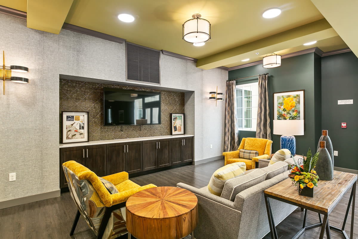 TV and relax center at Estancia Senior Living in Fallbrook, California