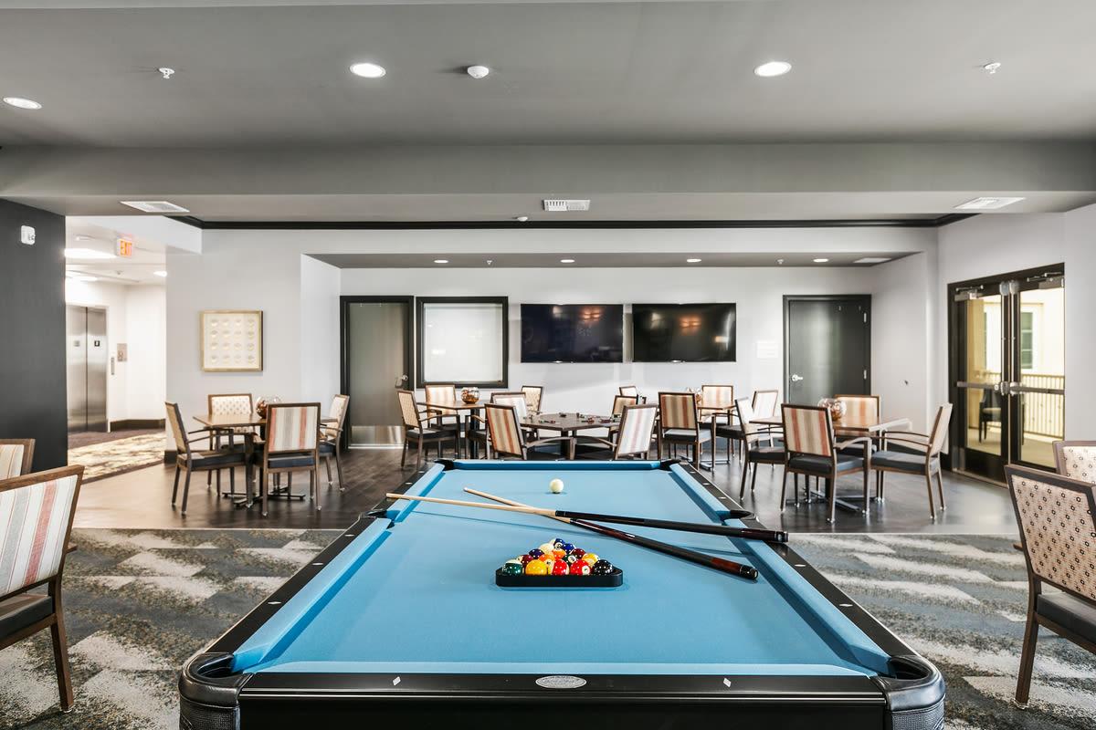 Pool table at Estancia Senior Living in Fallbrook, California