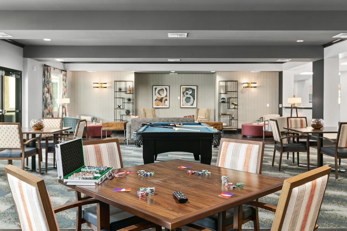 Game and social area at Estancia Senior Living in Fallbrook, California
