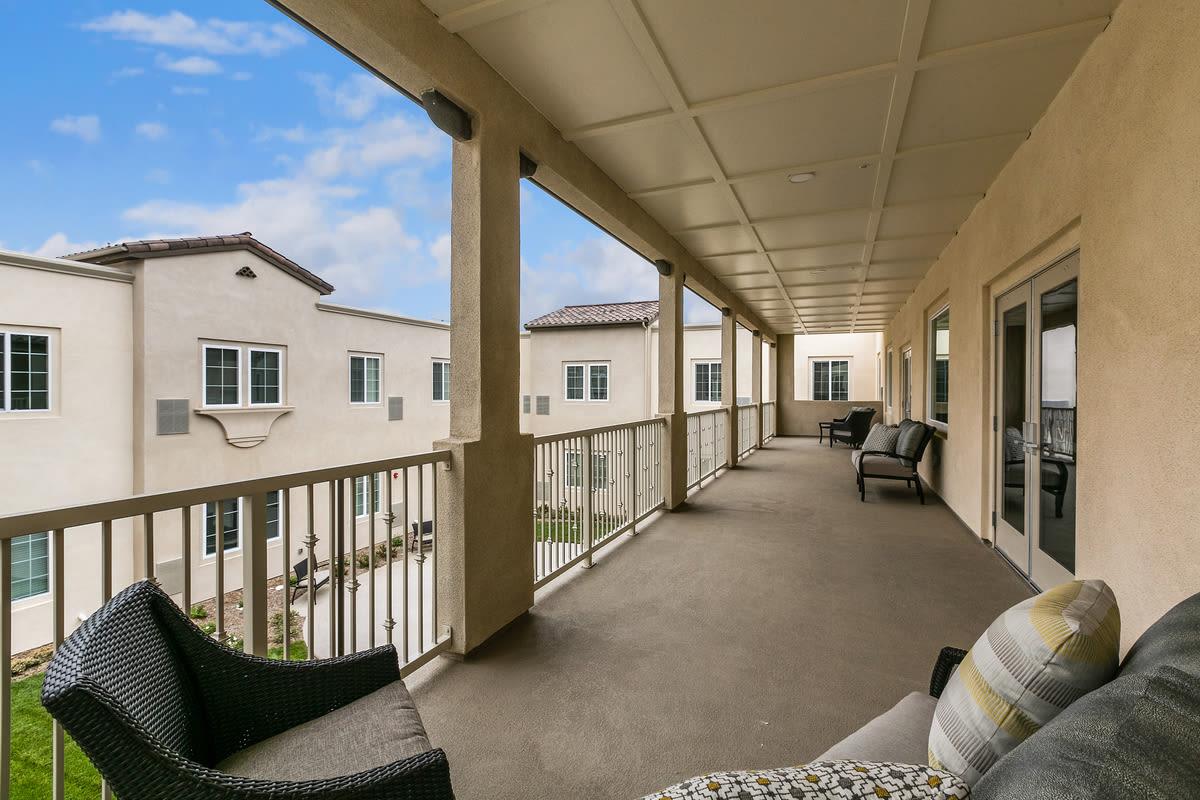Balcony at Estancia Senior Living in Fallbrook, California