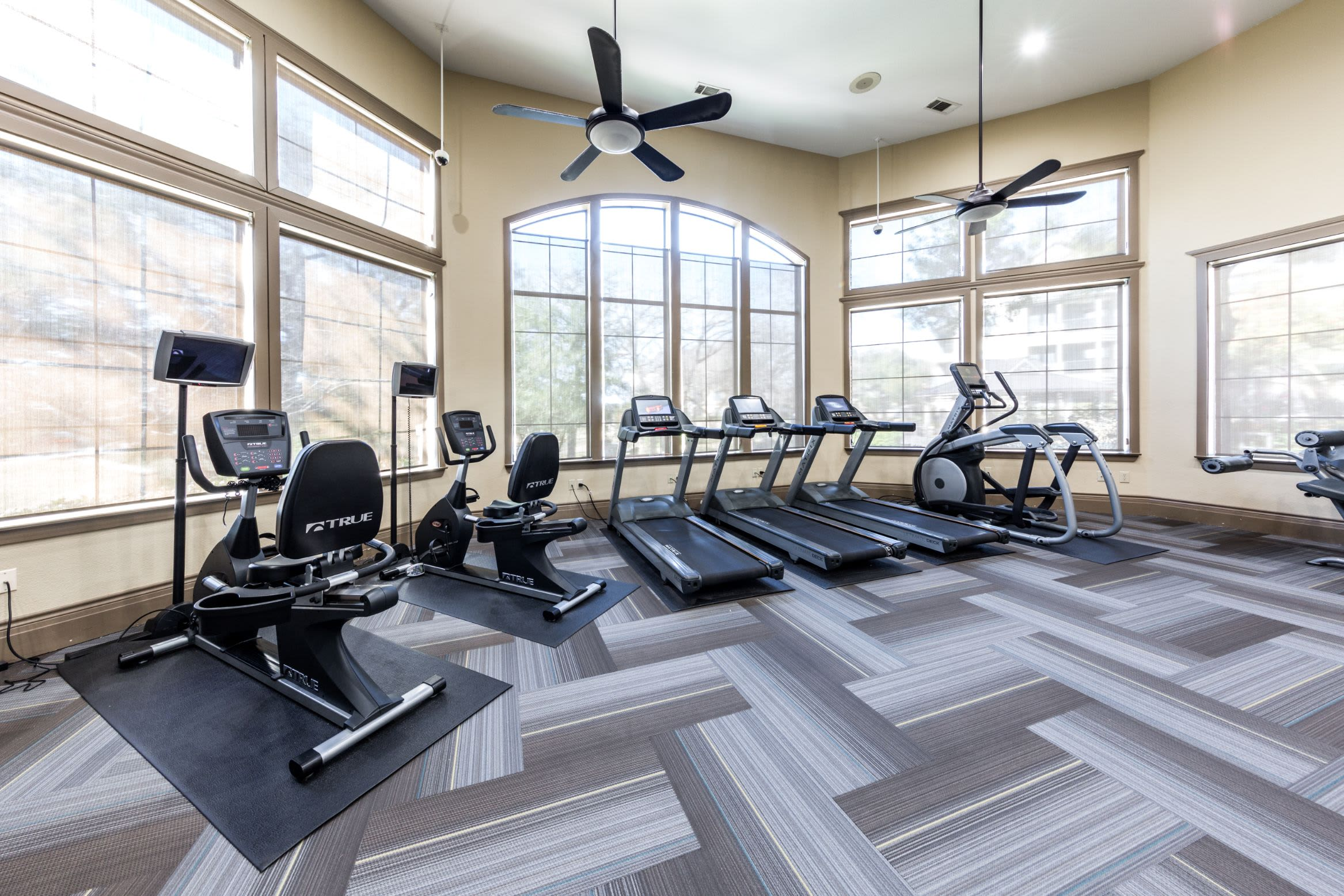 Treadmills in fitness center at The Marquis at Brushy Creek in Austin, Texas