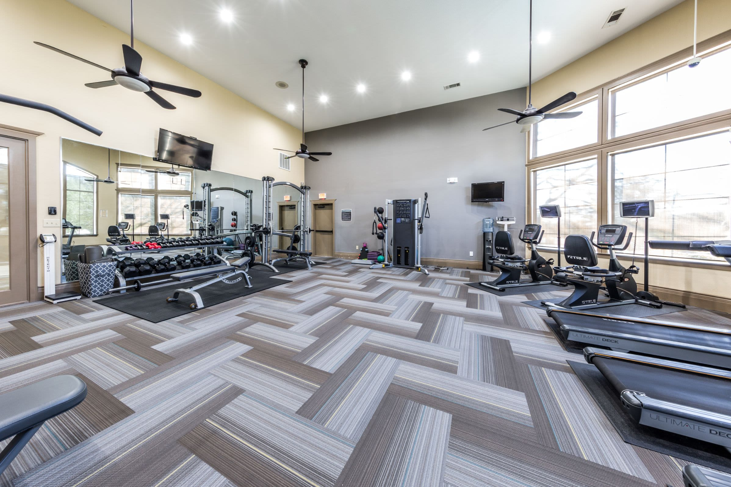 Spacious fitness center at The Marquis at Brushy Creek in Austin, Texas