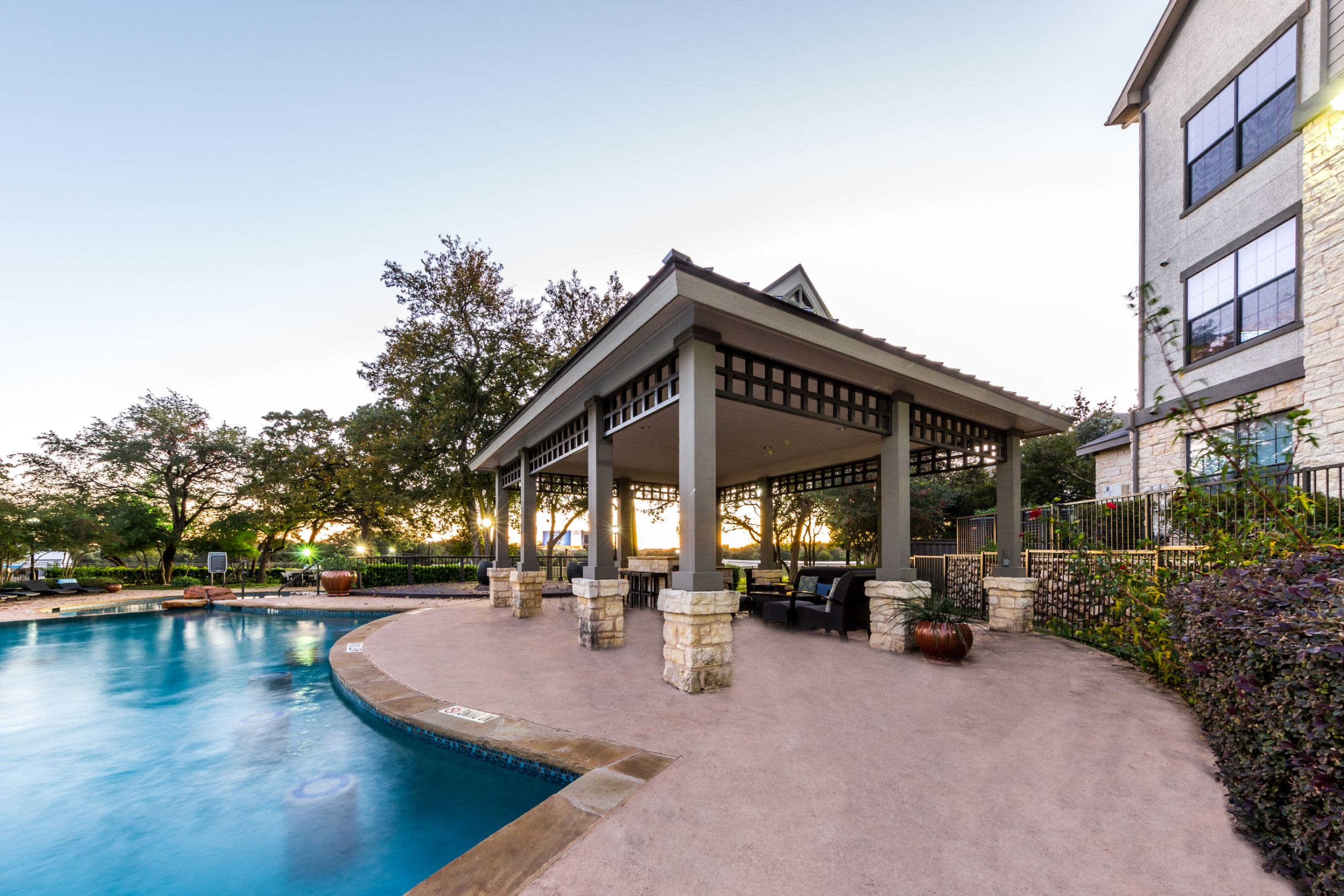 Swimming pool next to gazebo at The Marquis at Brushy Creek in Austin, Texas