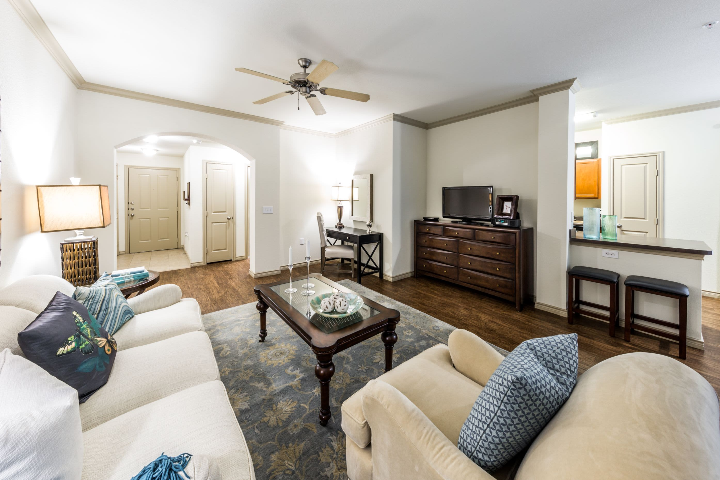 Bright living room with a rug and a TV niche at The Marquis at Brushy Creek in Austin, Texas