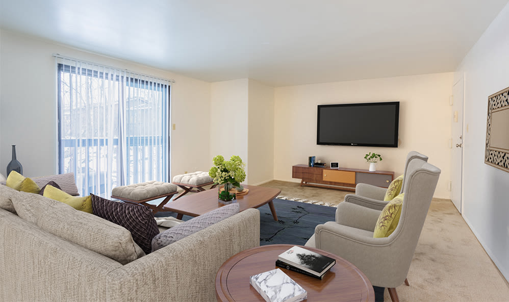 Living room at High Acres Apartments & Townhomes in Syracuse, New York