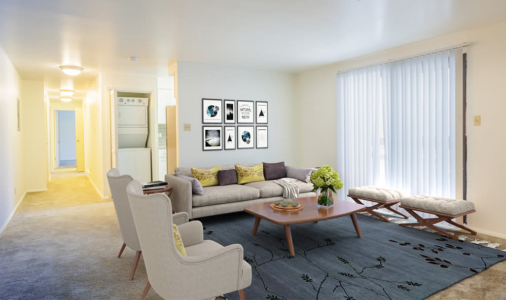 Spacious living room at High Acres Apartments & Townhomes in Syracuse, New York