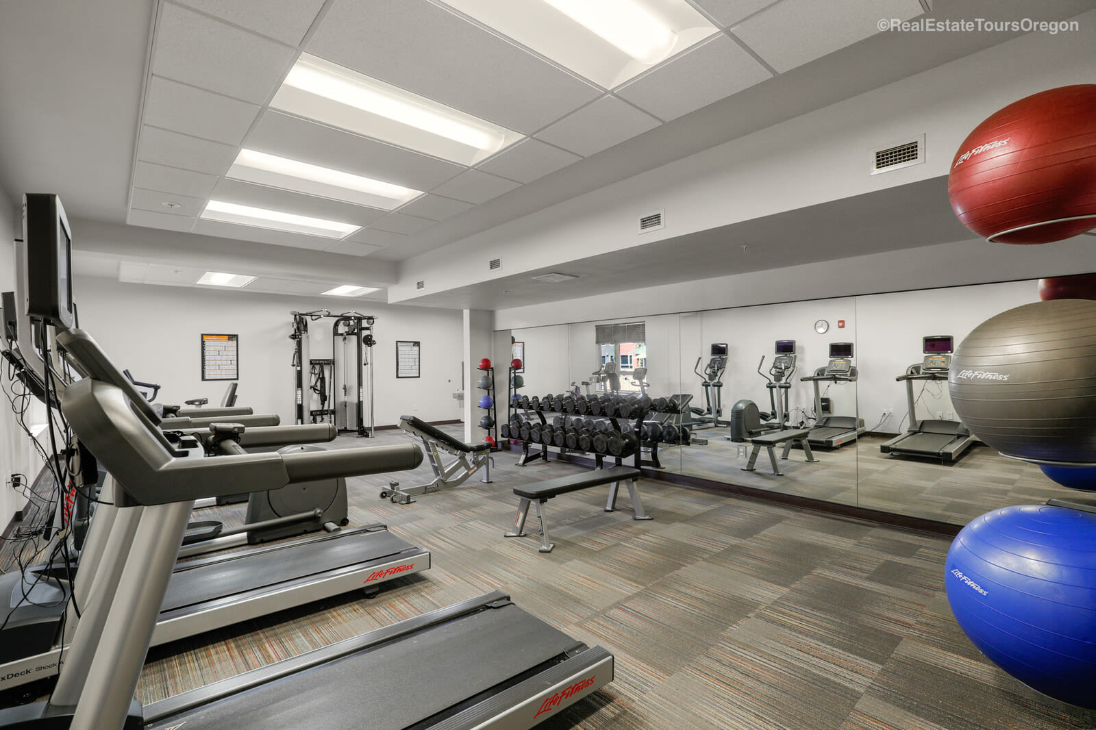 The fitness room at South Block Apartments in Salem, OR