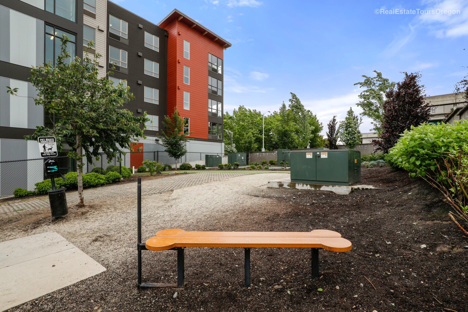 The dog park at South Block Apartments in Salem, OR