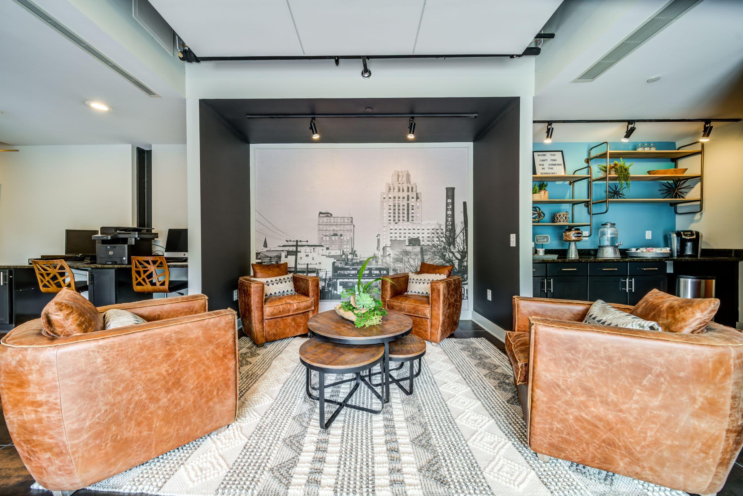 Modern lobby area at The Gallery Lofts in Winston Salem, North Carolina