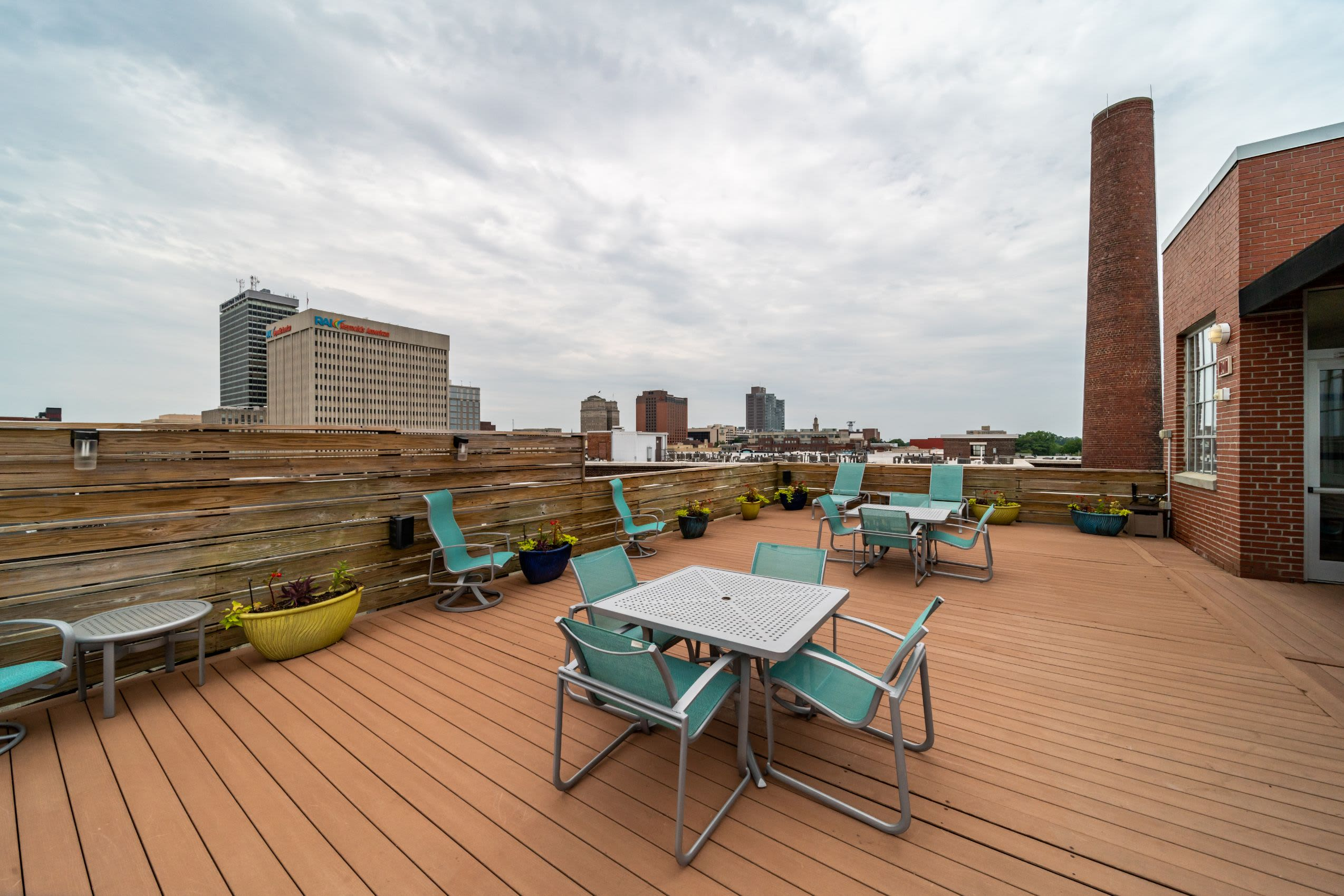 City views from rooftop lounge at The Gallery Lofts in Winston Salem, North Carolina