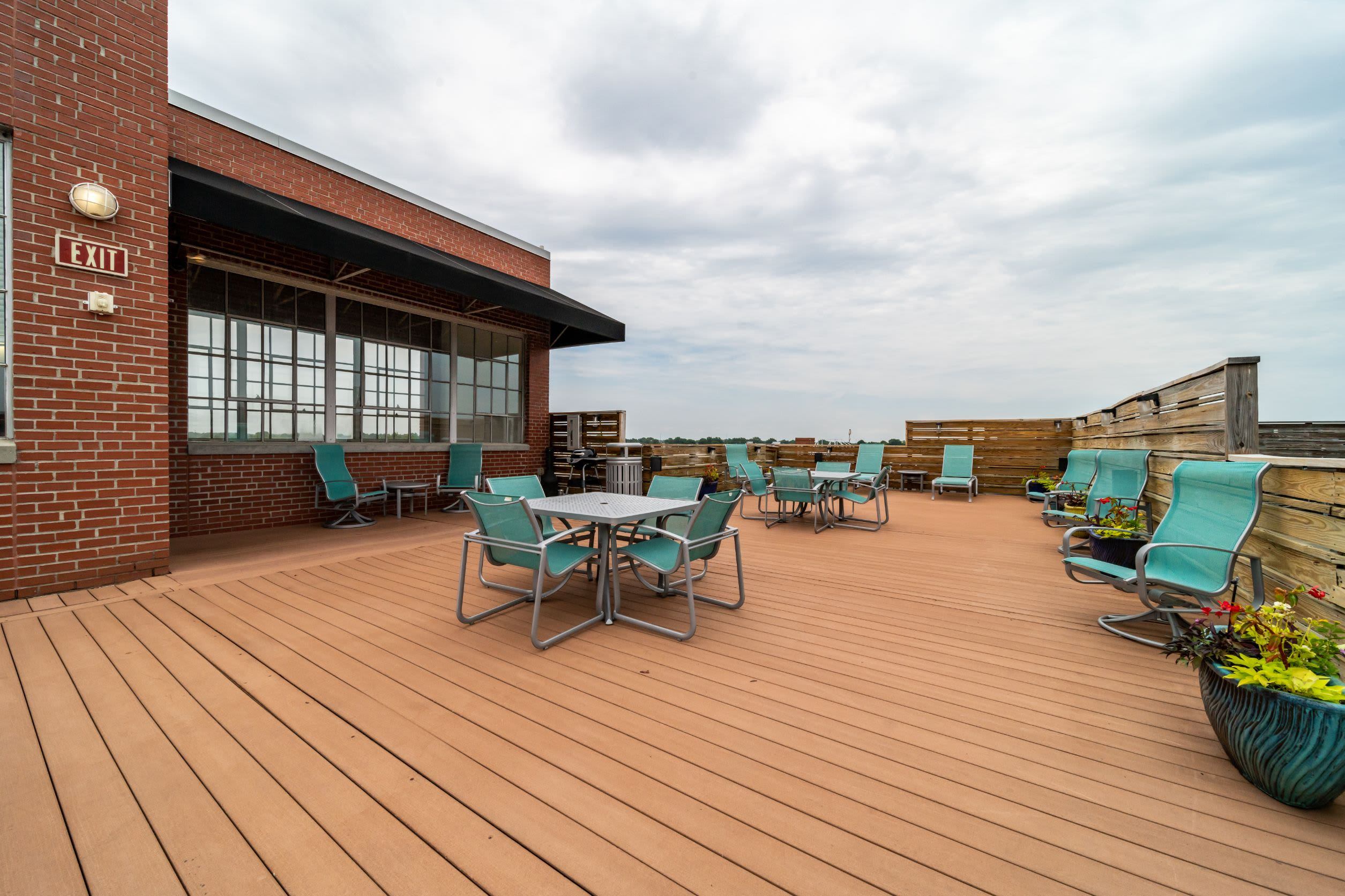 Rooftop terrace with city views at The Gallery Lofts in Winston Salem, North Carolina