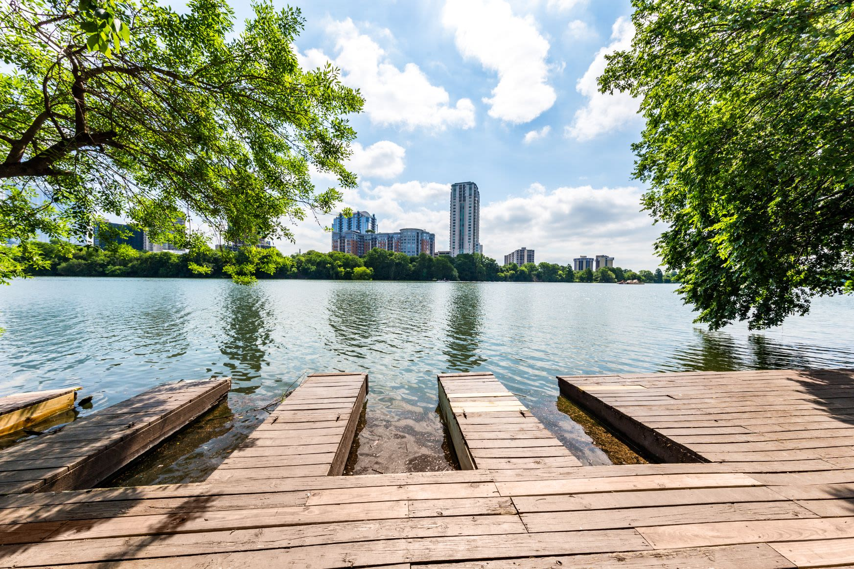 City views from the dock at SoCo on The Lake in Austin, Texas