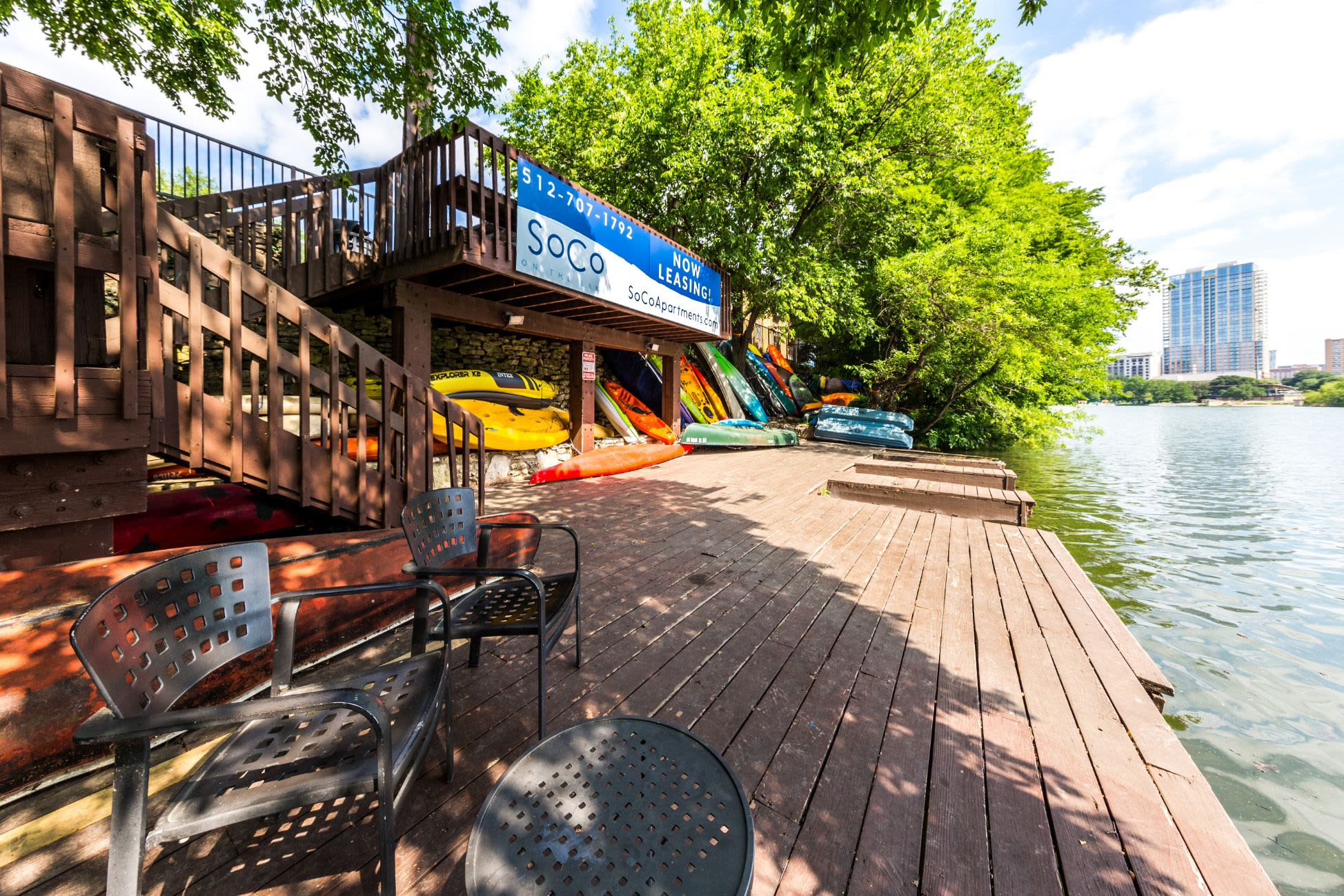 Kayaks on the dock at SoCo on The Lake in Austin, Texas