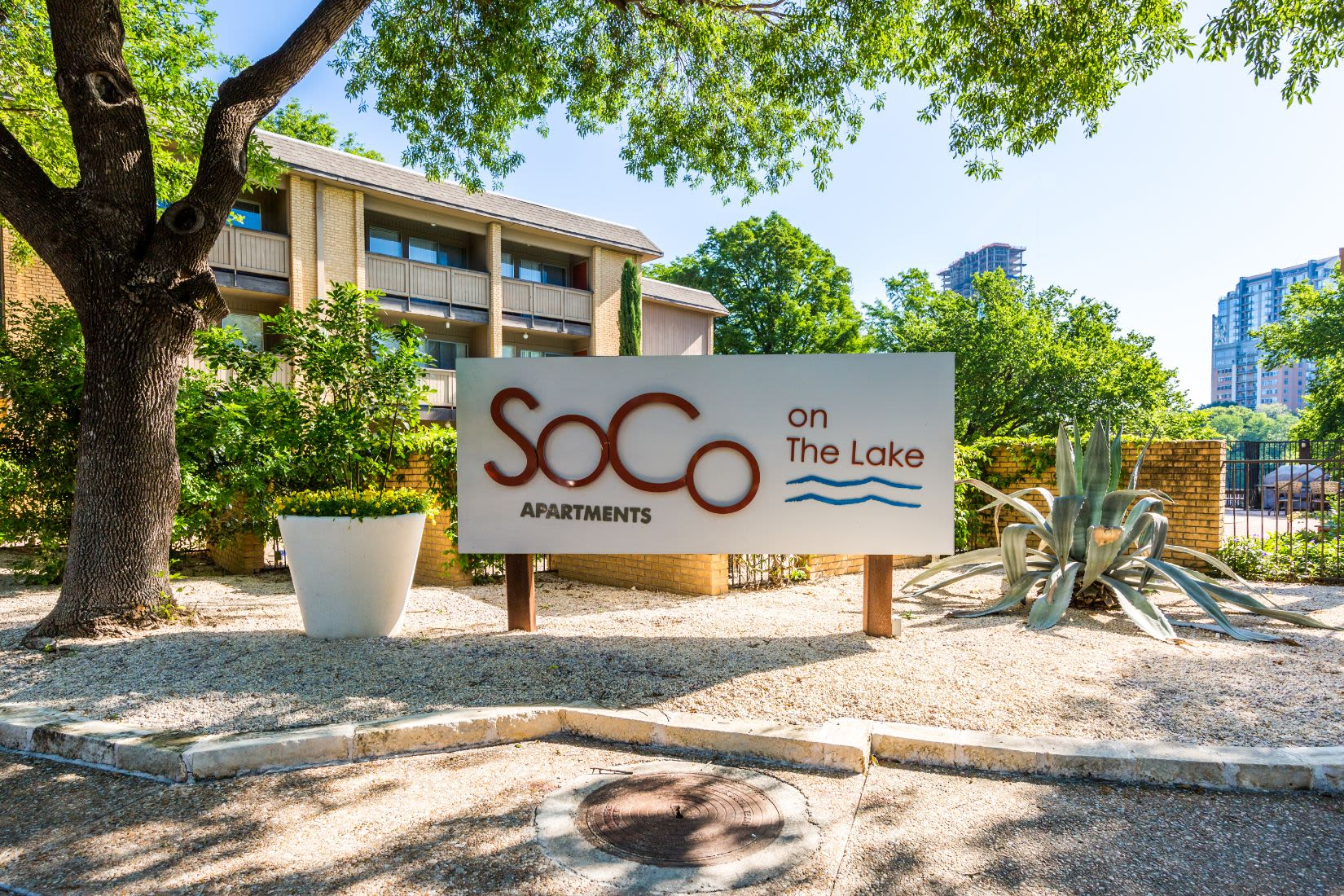 SoCo on the Lake sign near entrance at SoCo on The Lake in Austin, Texas