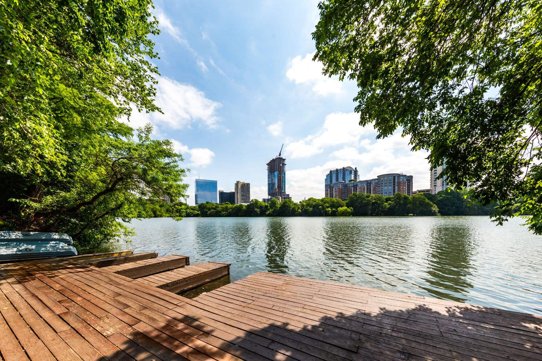 Dock overlooking the city at SoCo on The Lake in Austin, Texas