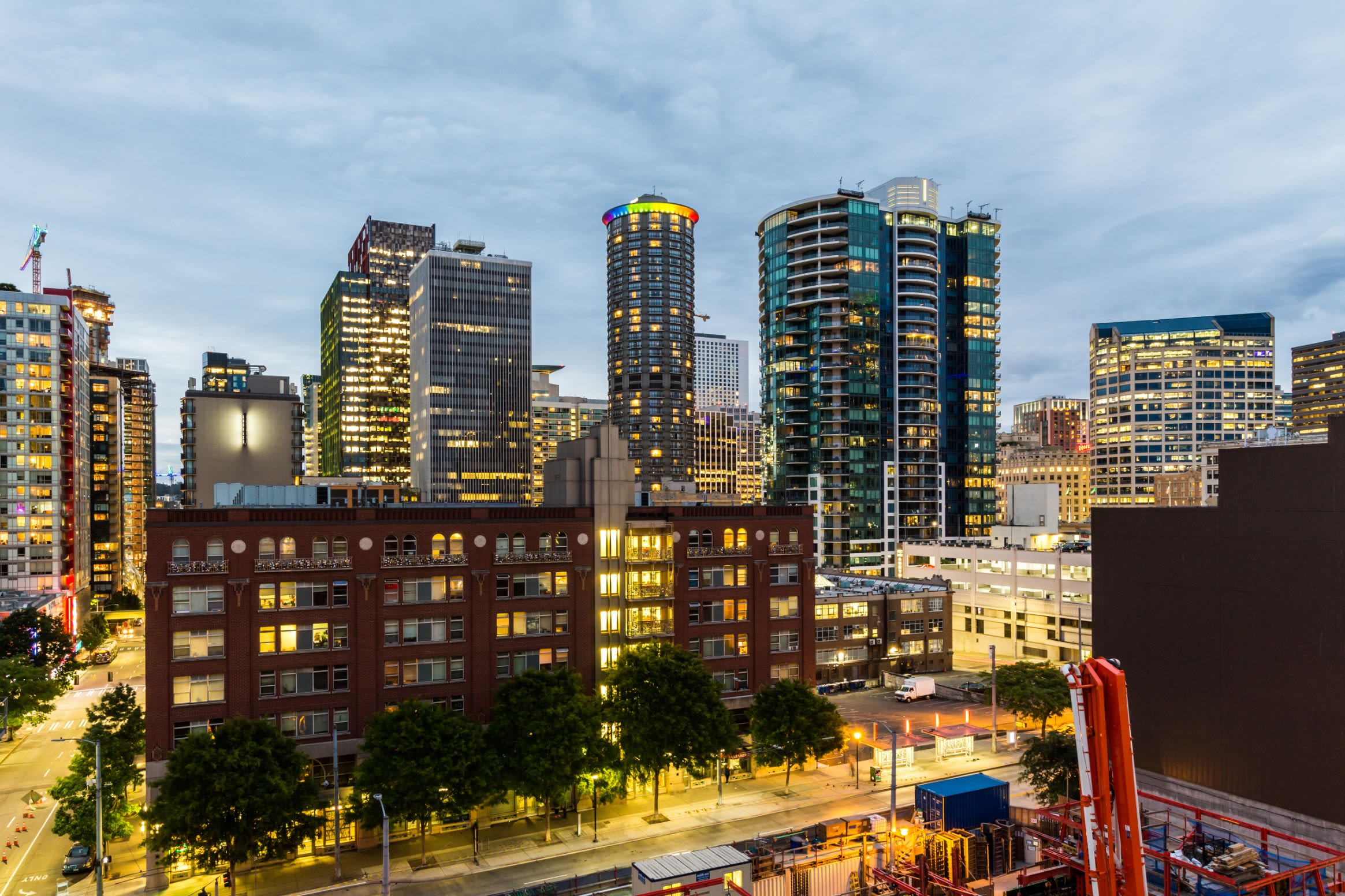 City views from rooftop lounge at Marq 211 in Seattle, Washington
