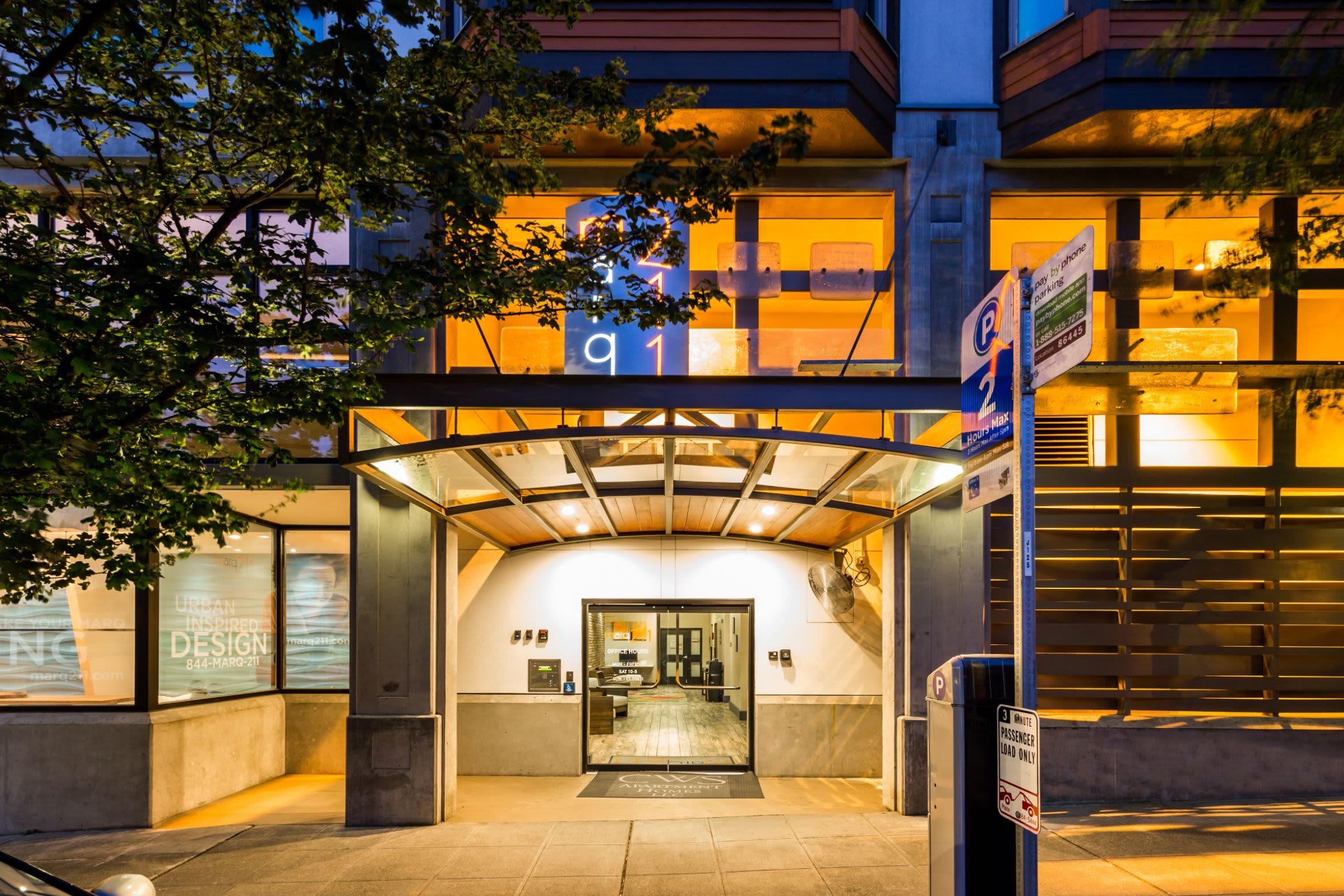 Street entrance at Marq 211 in Seattle, Washington