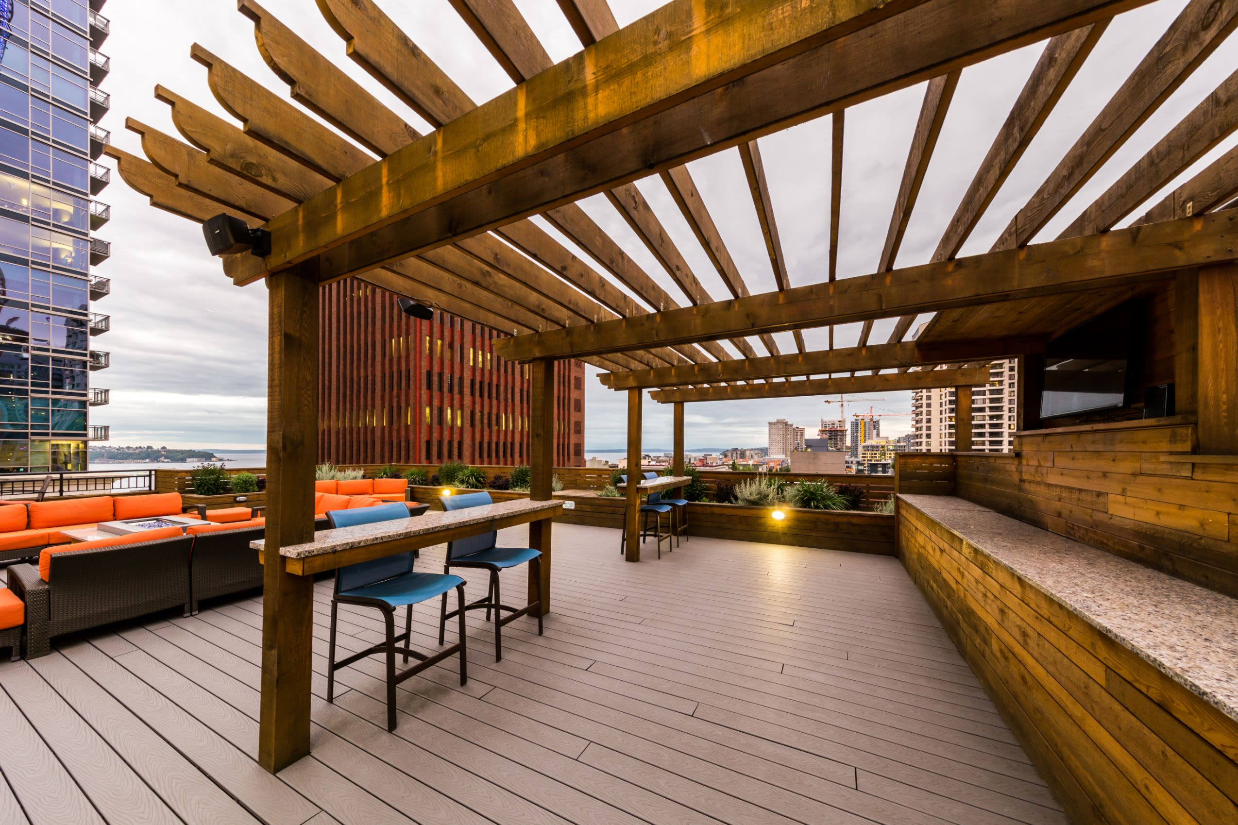 Rooftop lounge with gazebo at Marq 211 in Seattle, Washington