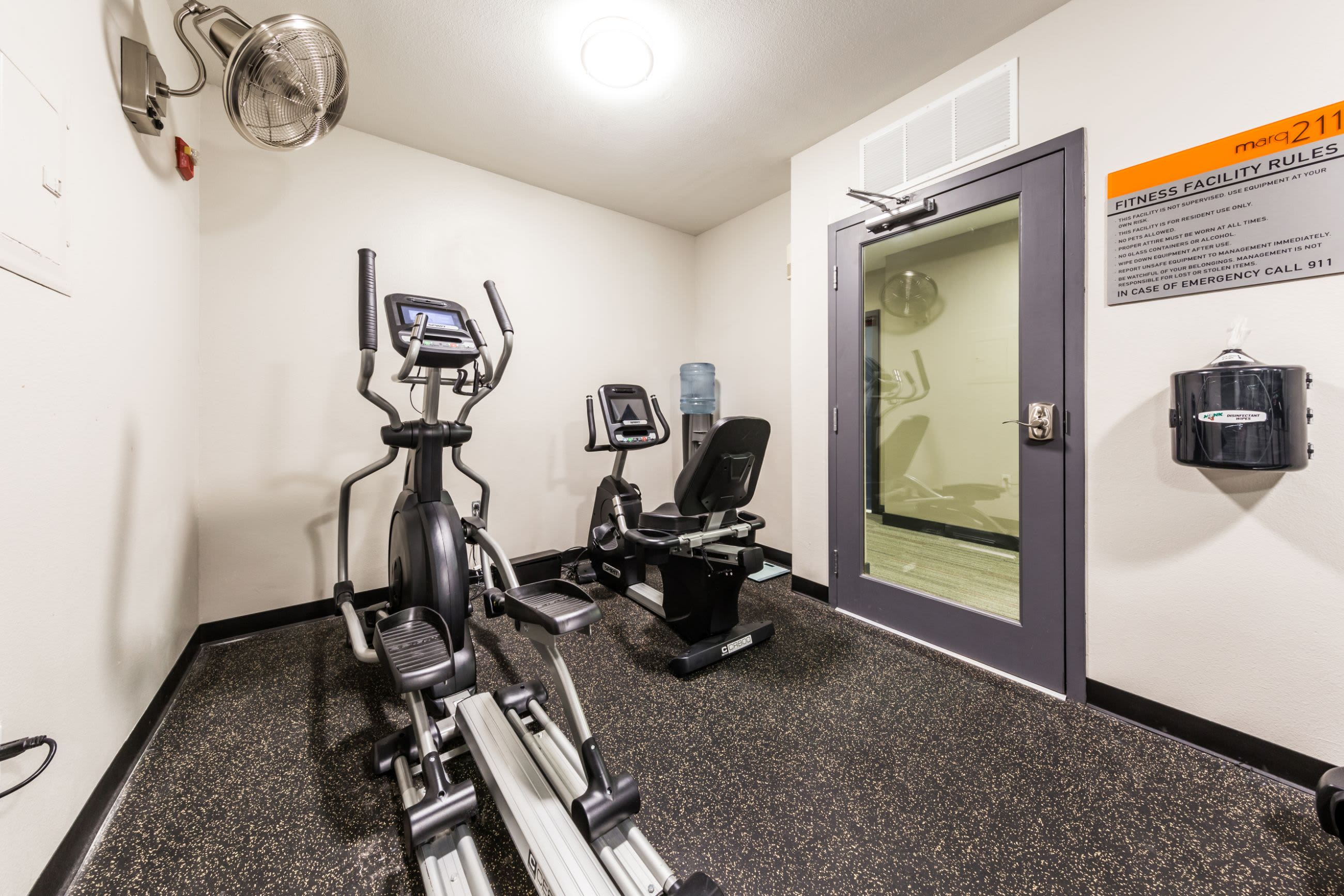 Elliptical in fitness center at Marq 211 in Seattle, Washington
