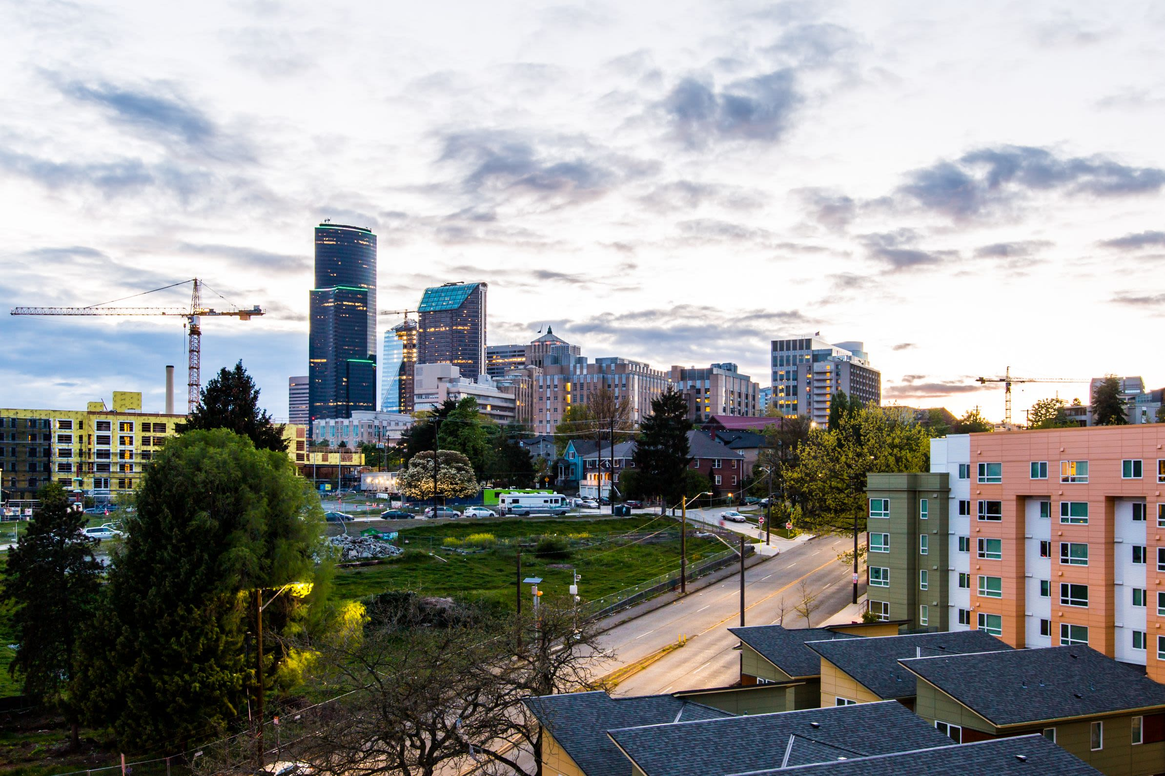 City views from the rooftop lounge at Anthem on 12th in Seattle, Washington