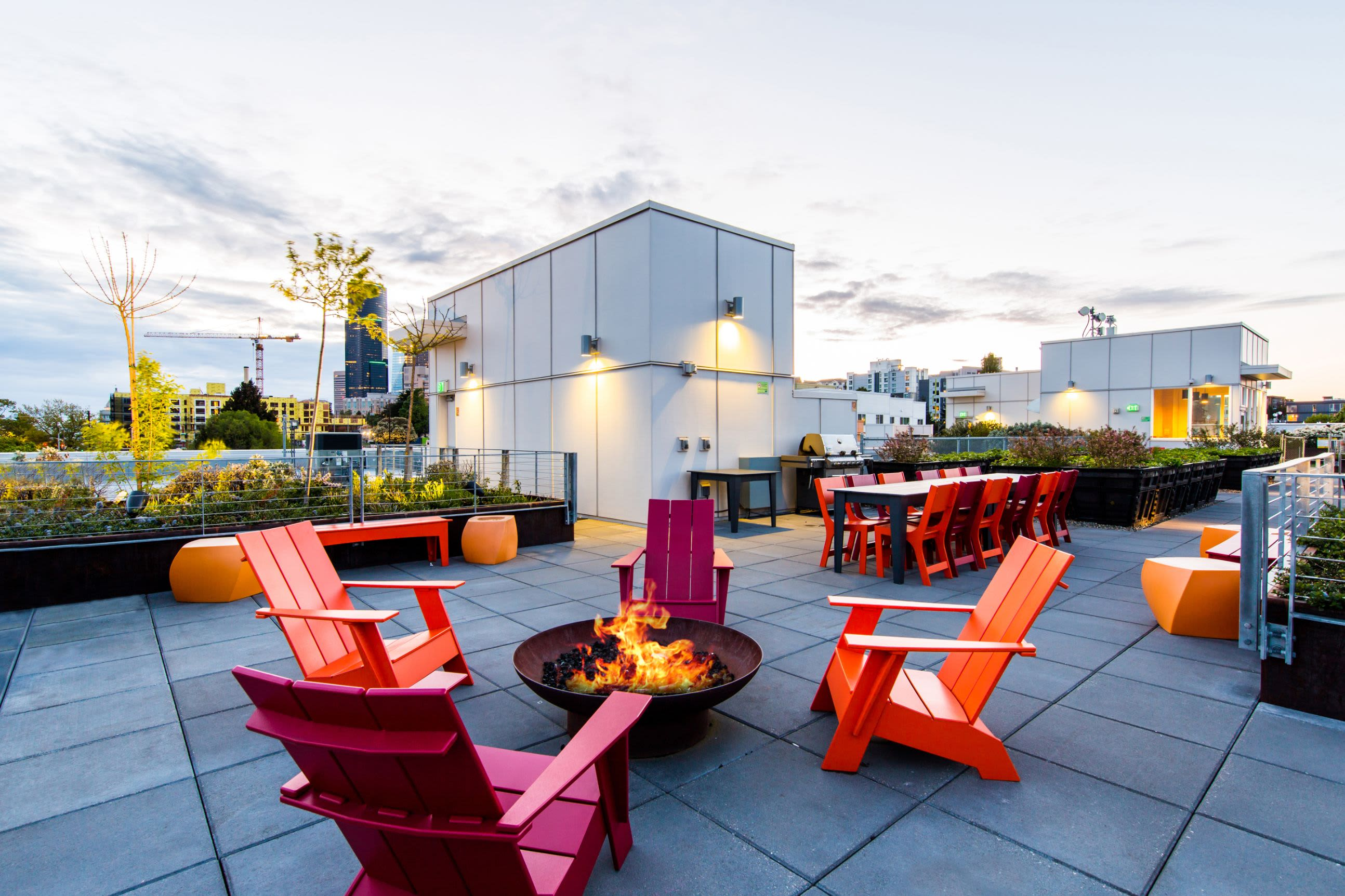 Rooftop community lounge at Anthem on 12th in Seattle, Washington