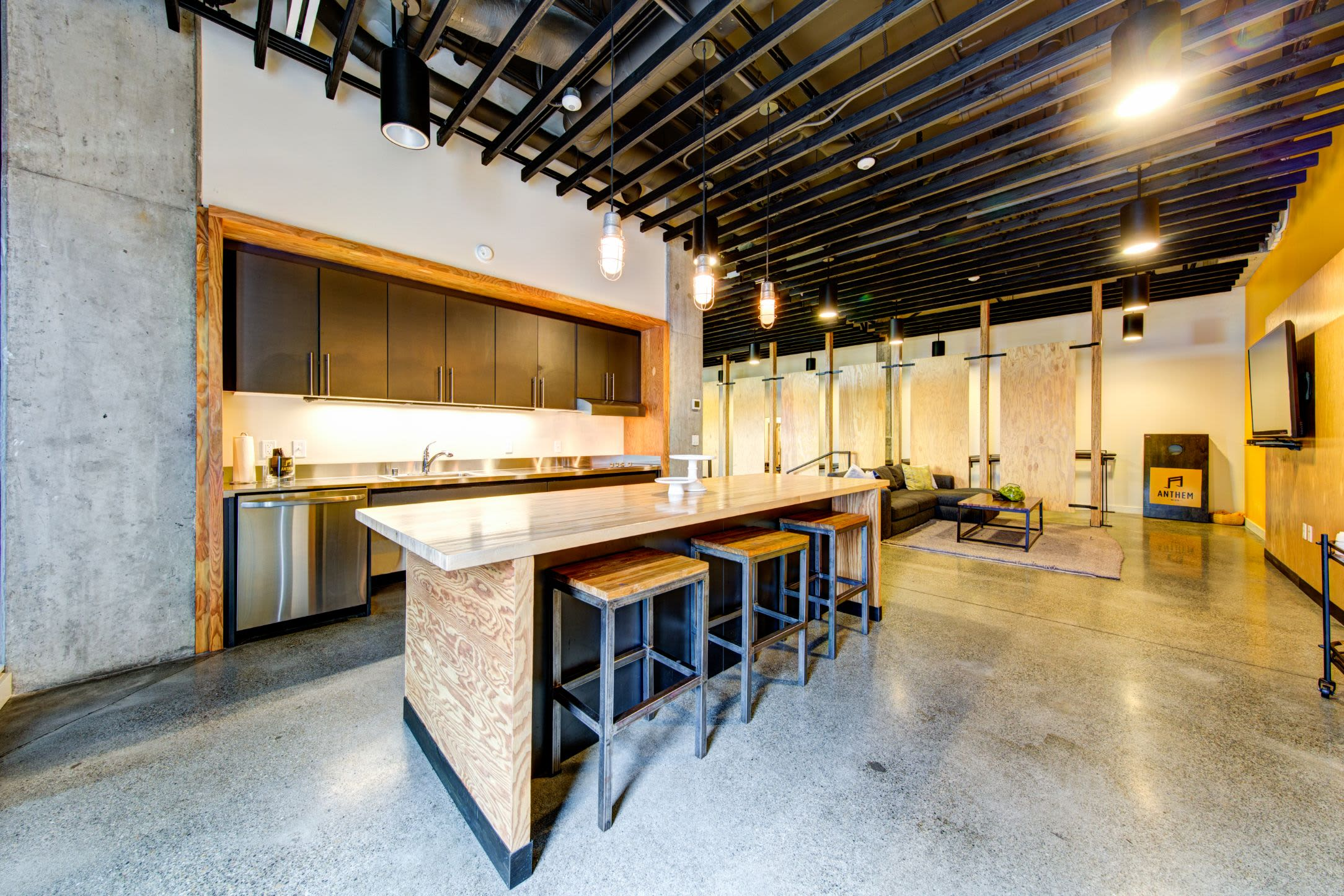 Kitchenette in the clubhouse at Anthem on 12th in Seattle, Washington