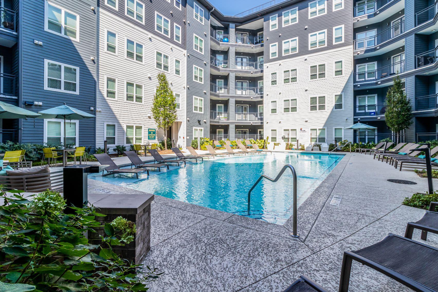 Sparkling pool outside at Skyline West in Atlanta, Georgia