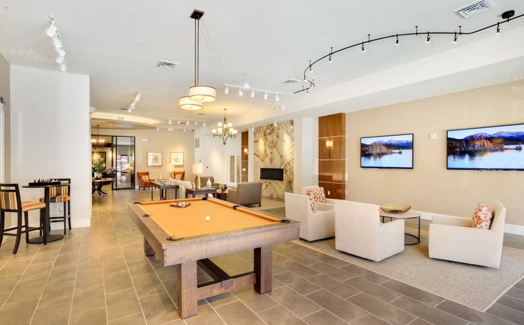Billiards table in the clubhouse at The Parc at Greenwood Village in Greenwood Village, Colorado