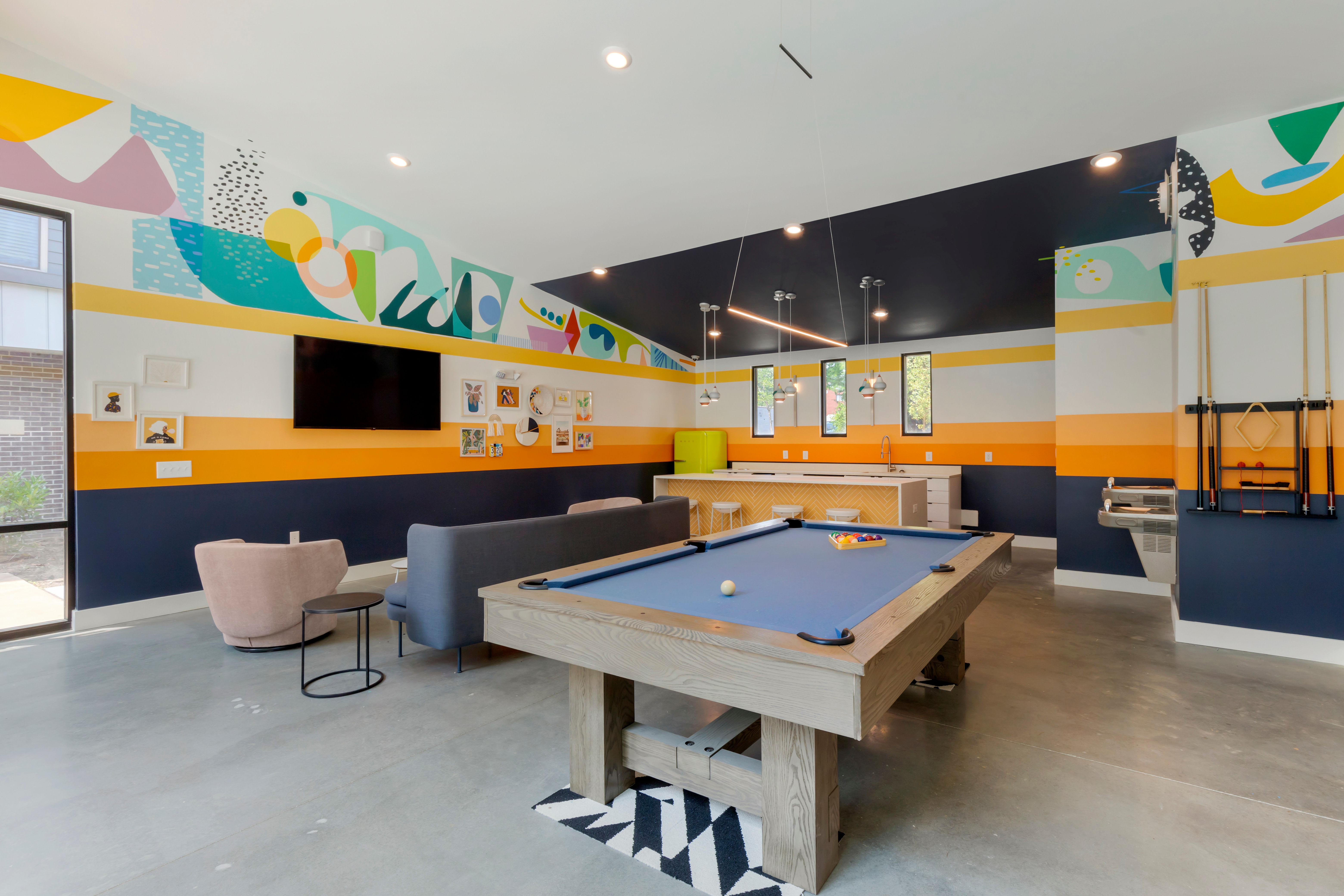 Community game room at UNCOMMON Raleigh in Raleigh, North Carolina
