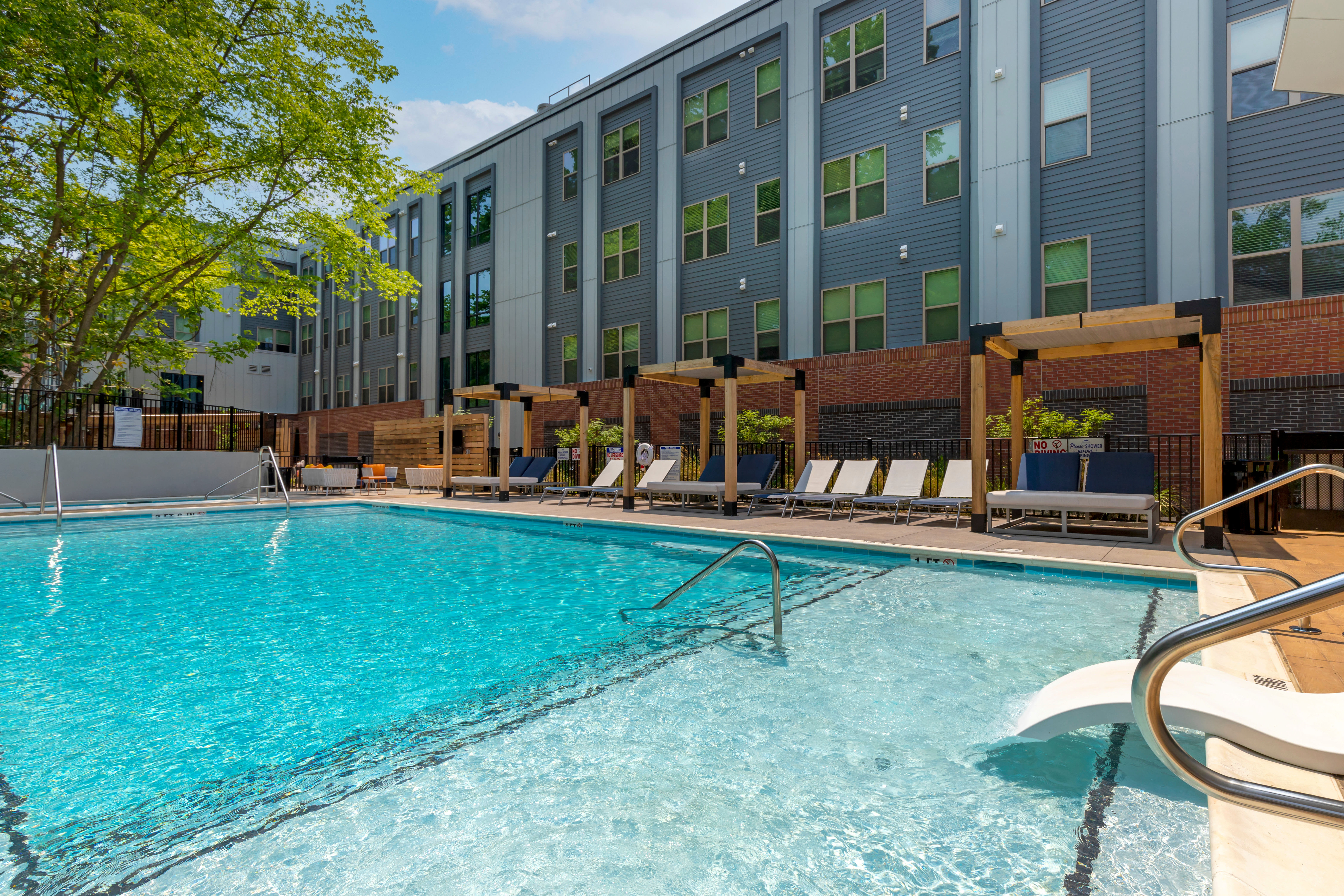 Sparkling swimming pool at UNCOMMON Raleigh in Raleigh, North Carolina