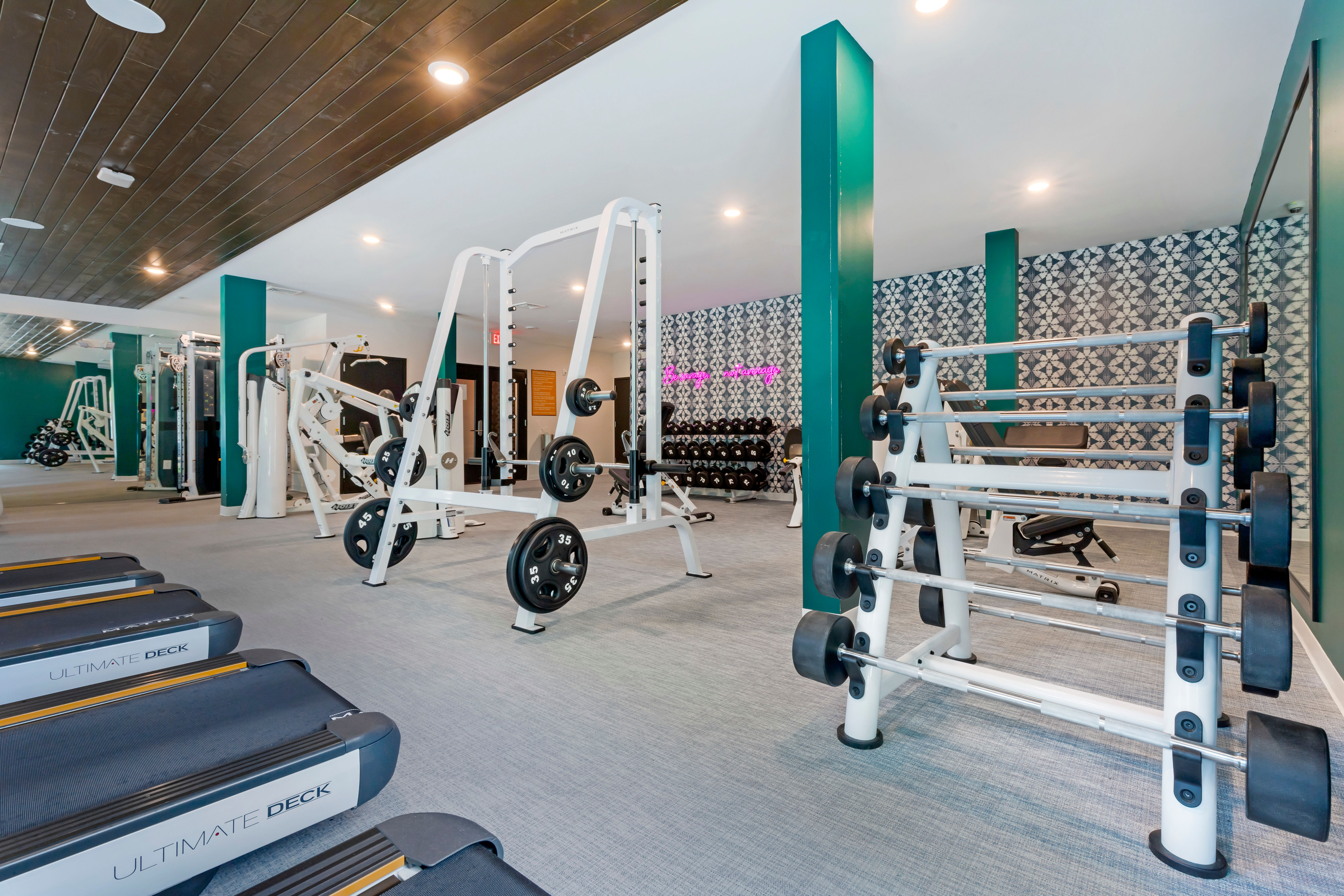 Fully equipped fitness center at UNCOMMON Raleigh in Raleigh, North Carolina